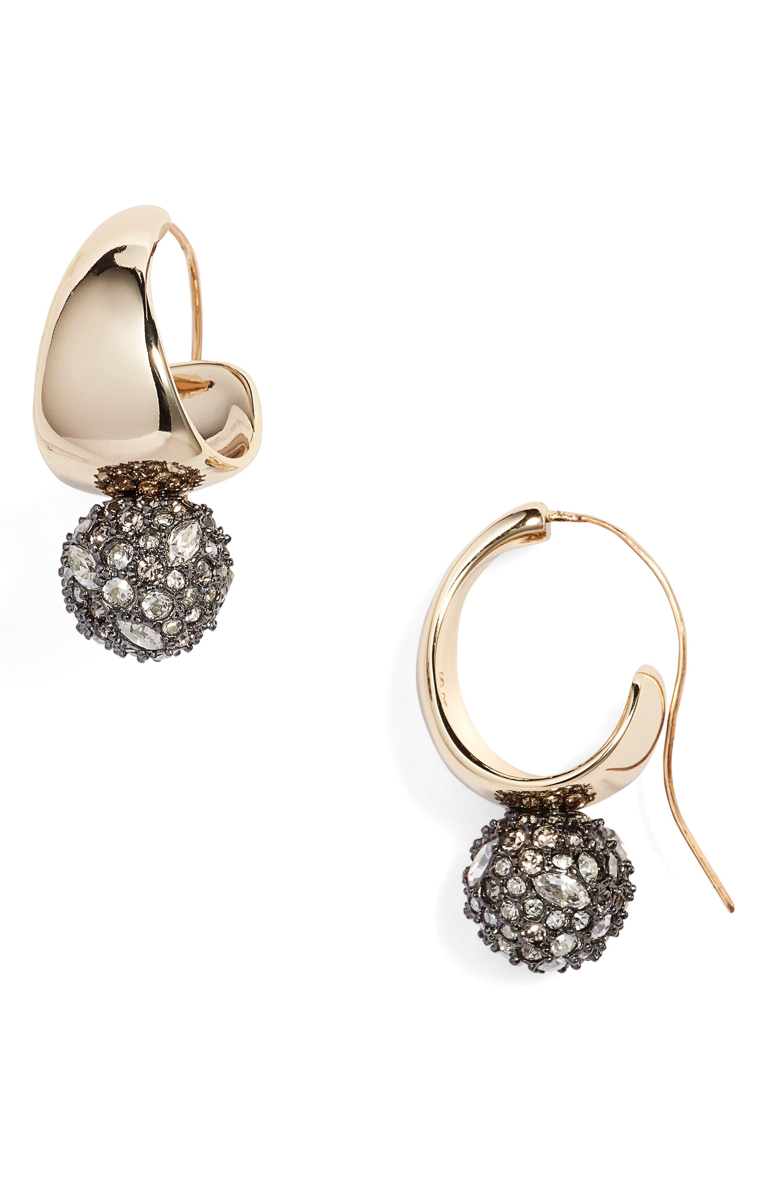Pavé Crystal Hoop Earrings,                             Main thumbnail 1, color,                             Gold
