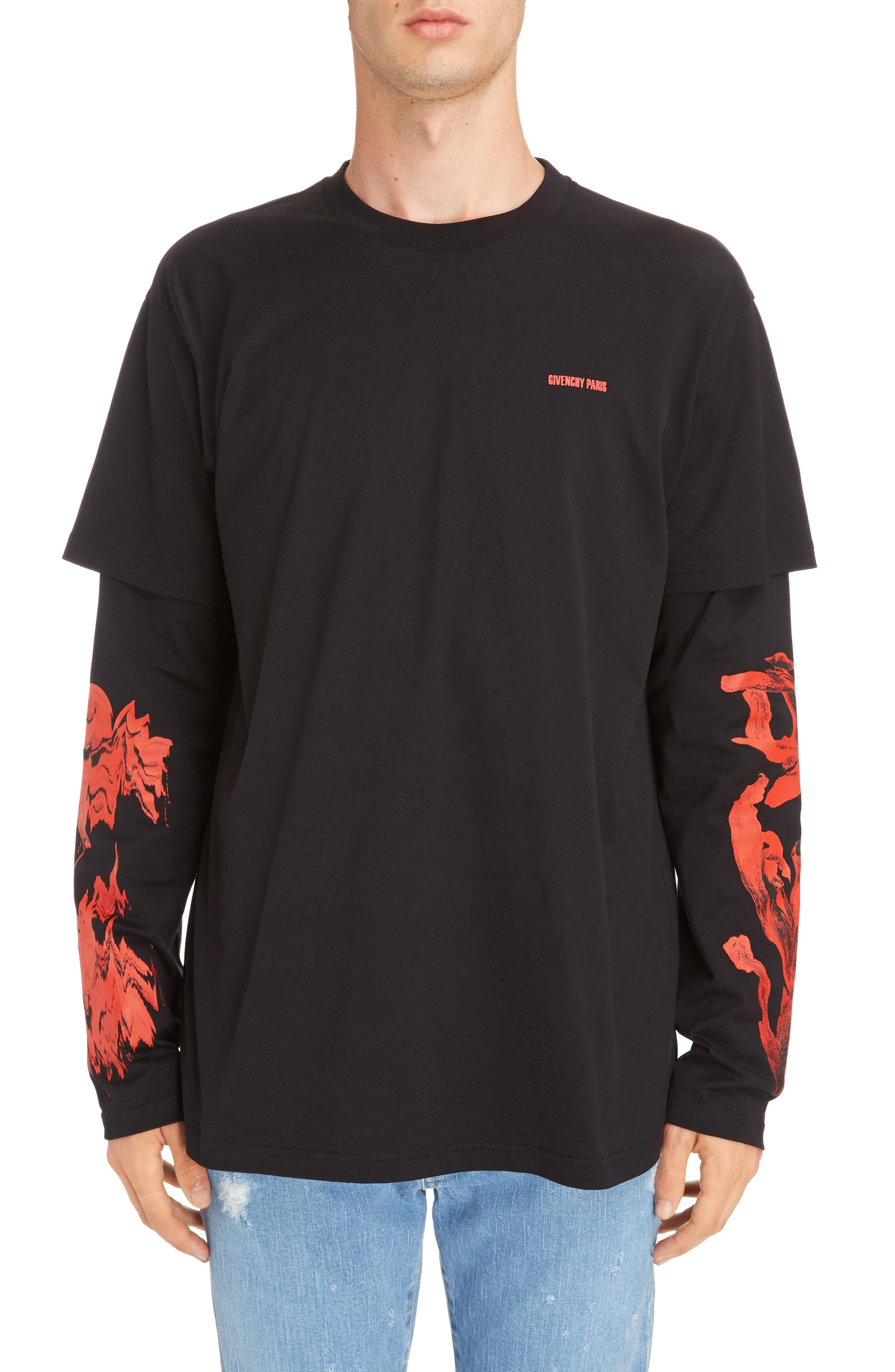 Rose Print Long Sleeve T-Shirt,                         Main,                         color, Black/Red