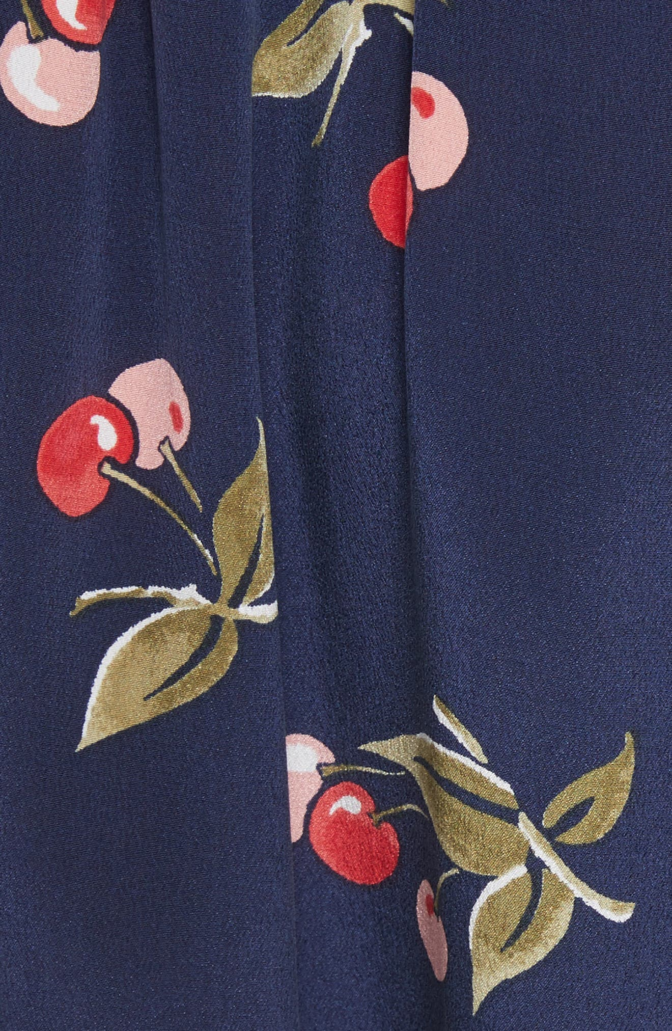Almudena Cherry Print Silk Wrap Skirt,                             Alternate thumbnail 5, color,                             Dark Navy