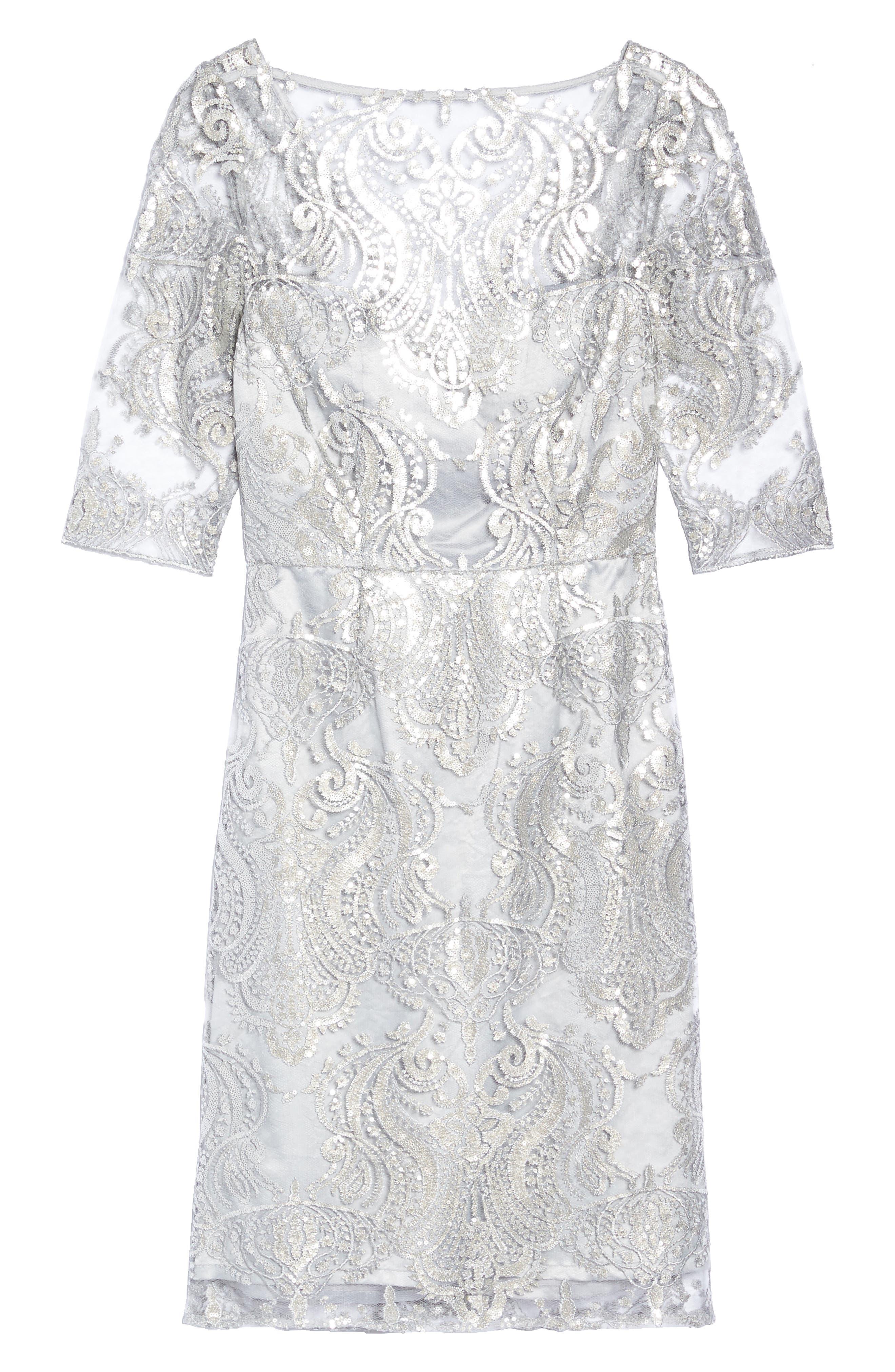 Sequin Illusion Sheath Dress,                             Main thumbnail 1, color,                             Silver
