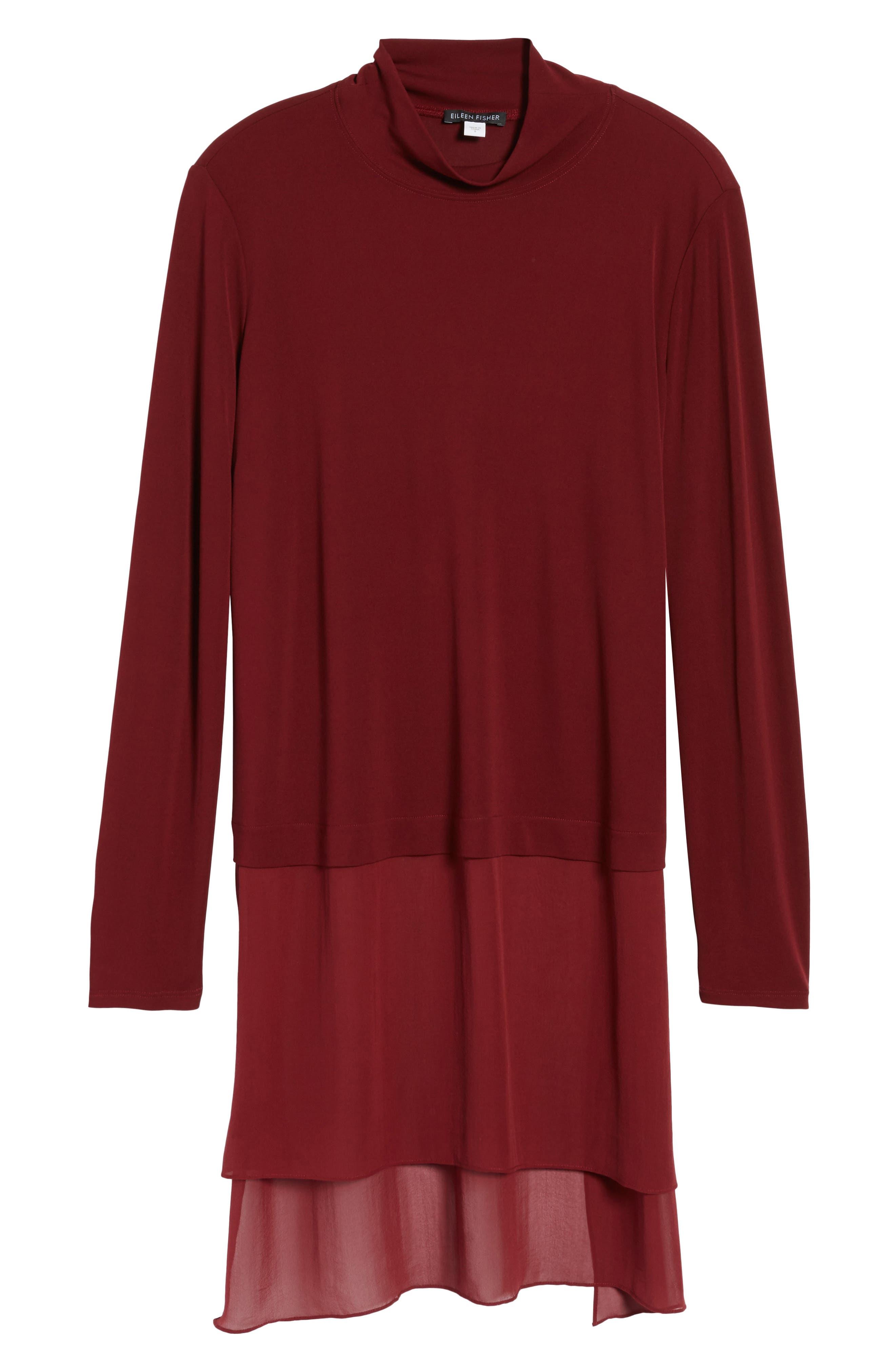 Sheer Hem Silk Tunic,                             Alternate thumbnail 6, color,                             Claret