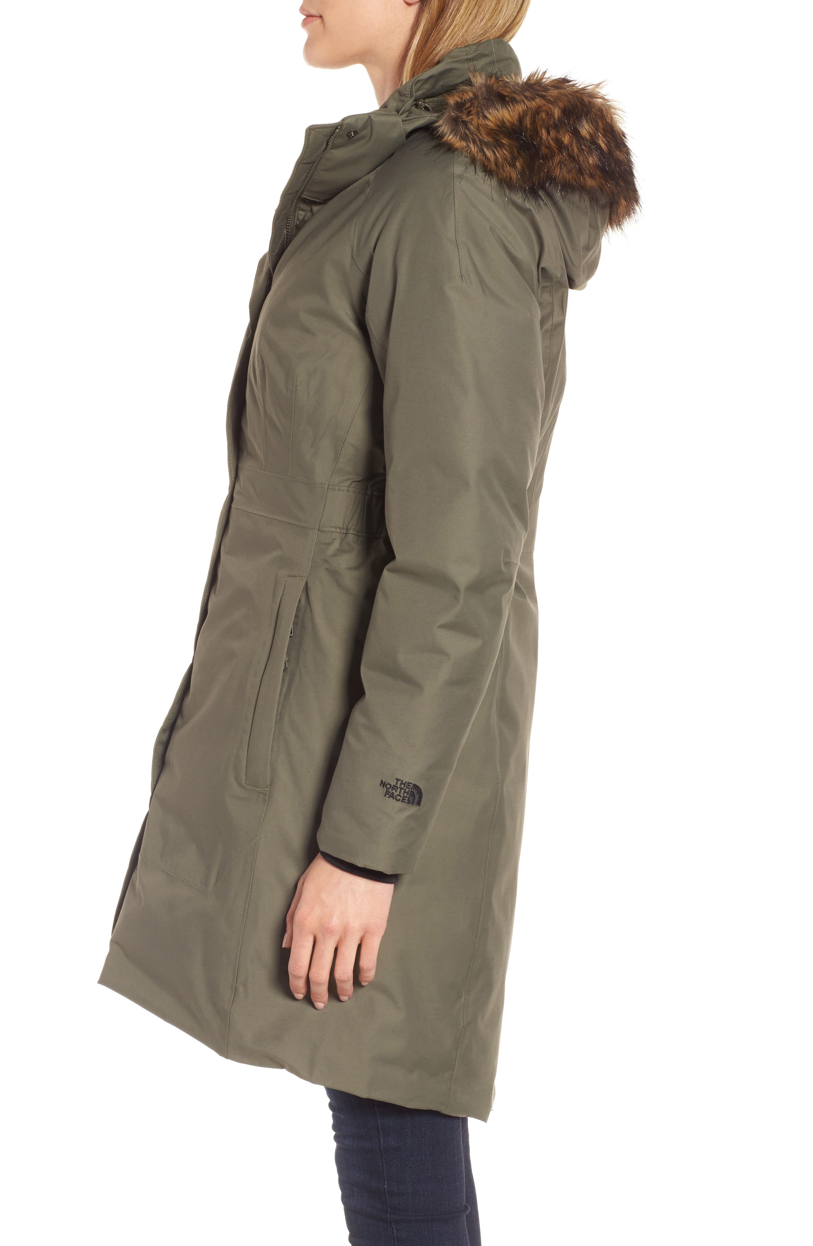 Arctic II Waterproof 550-Fill-Power Down Parka with Faux Fur Trim,                             Alternate thumbnail 3, color,                             New Taupe Green