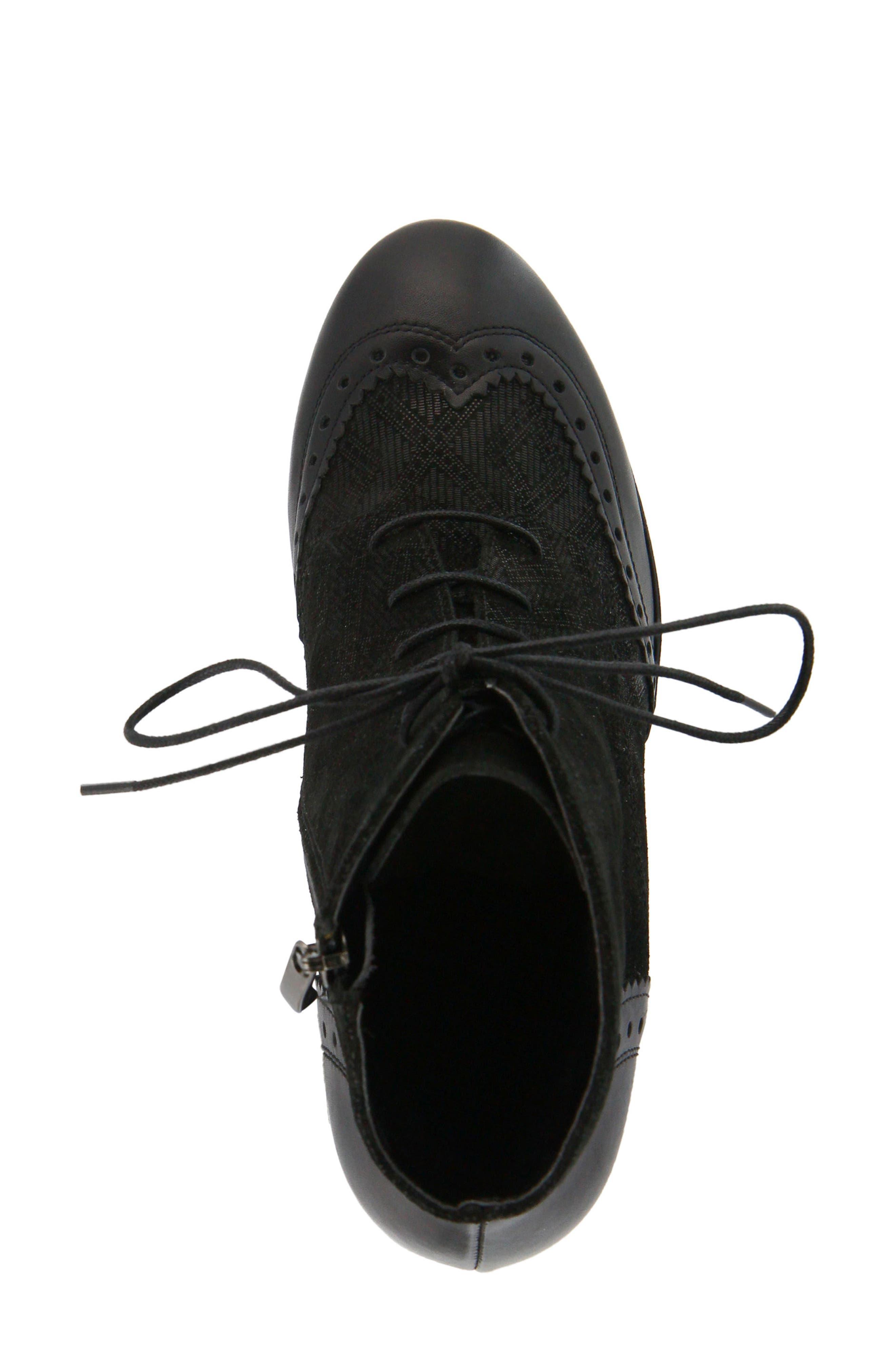 Gem Lace-Up Bootie,                             Alternate thumbnail 4, color,                             Black Leather