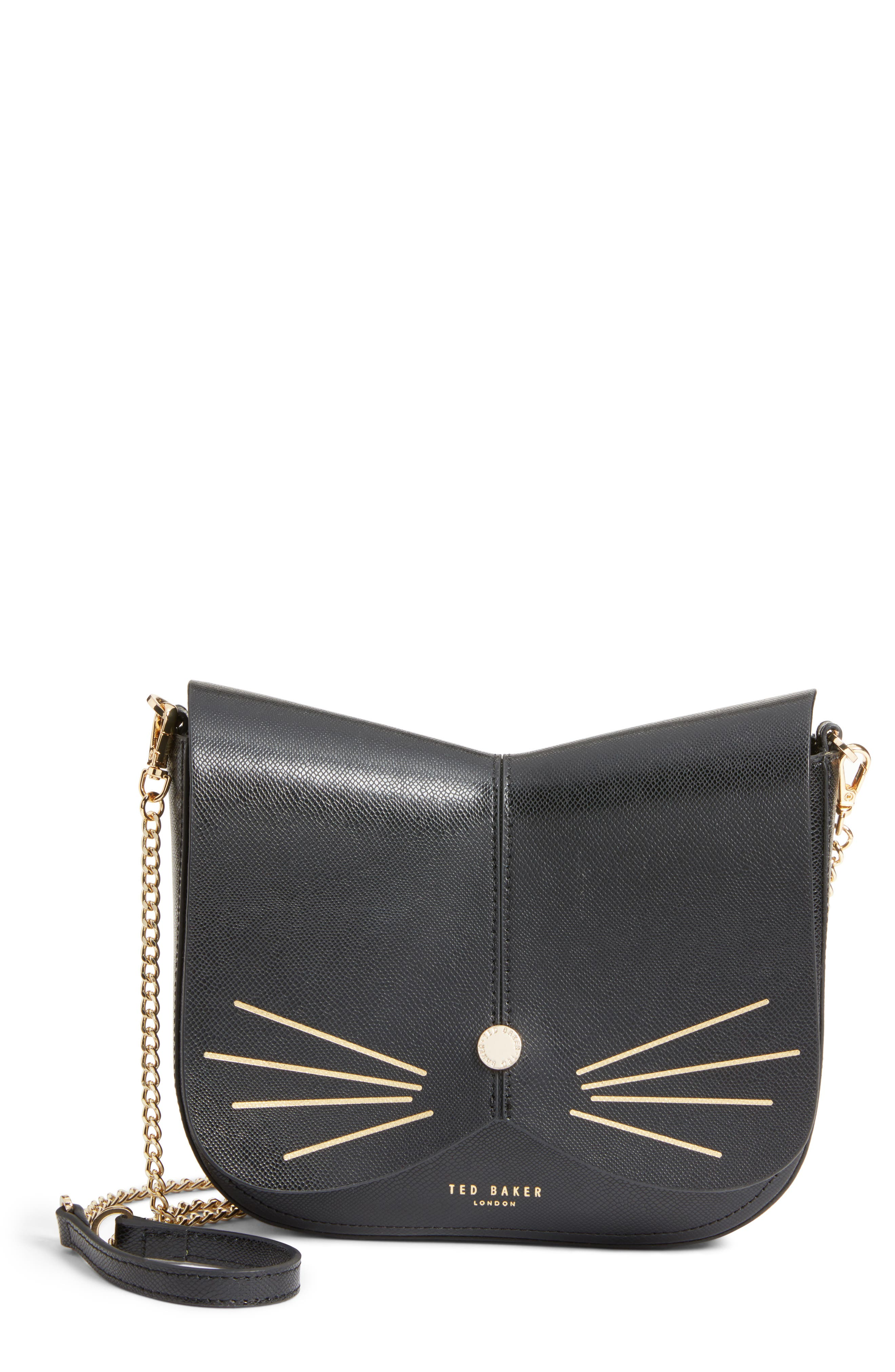 Kittii Cat Leather Crossbody Bag,                         Main,                         color, Black