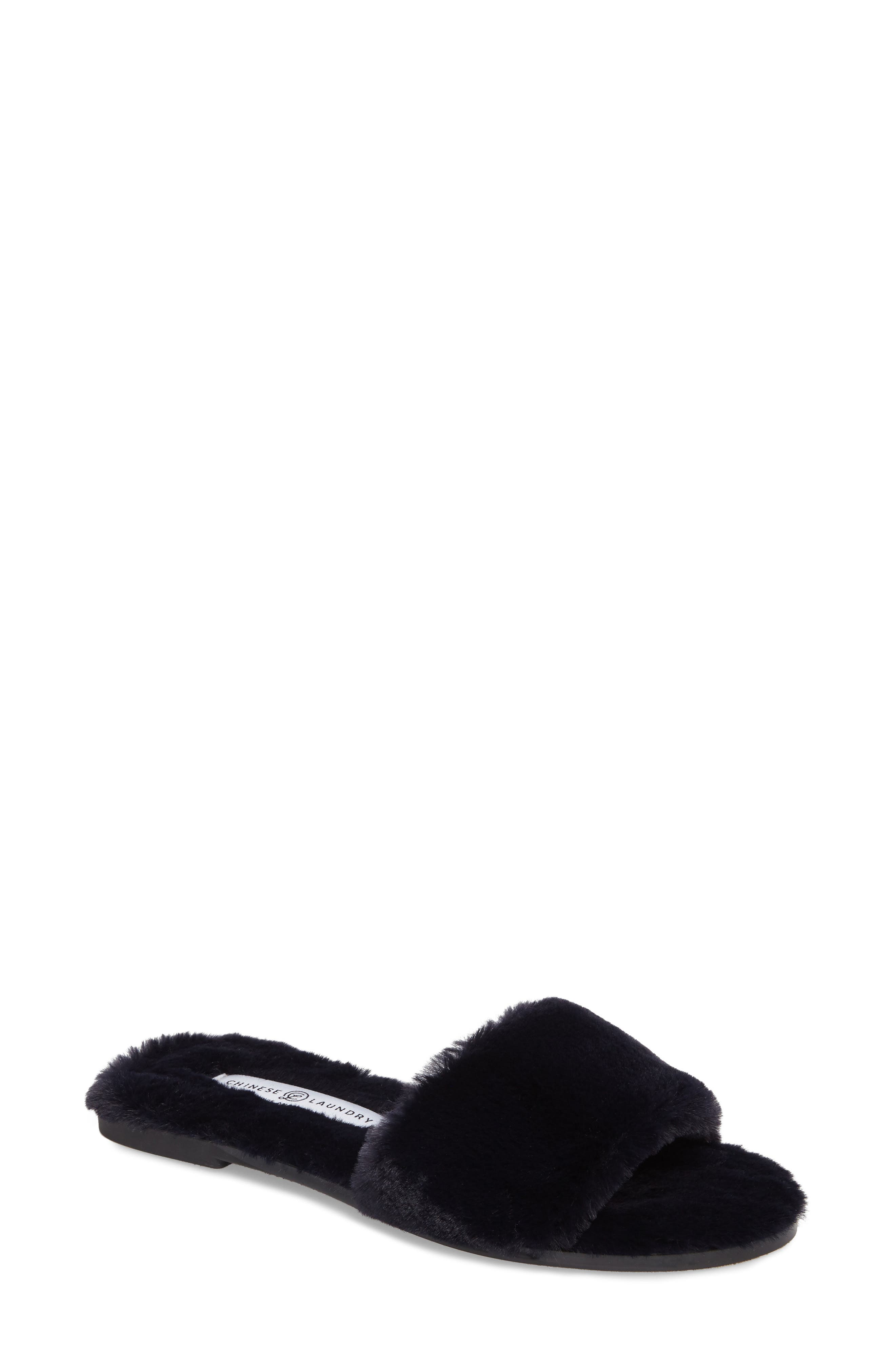 Alternate Image 1 Selected - Chinese Laundry Mulholland Faux Fur Slide Sandal (Women)