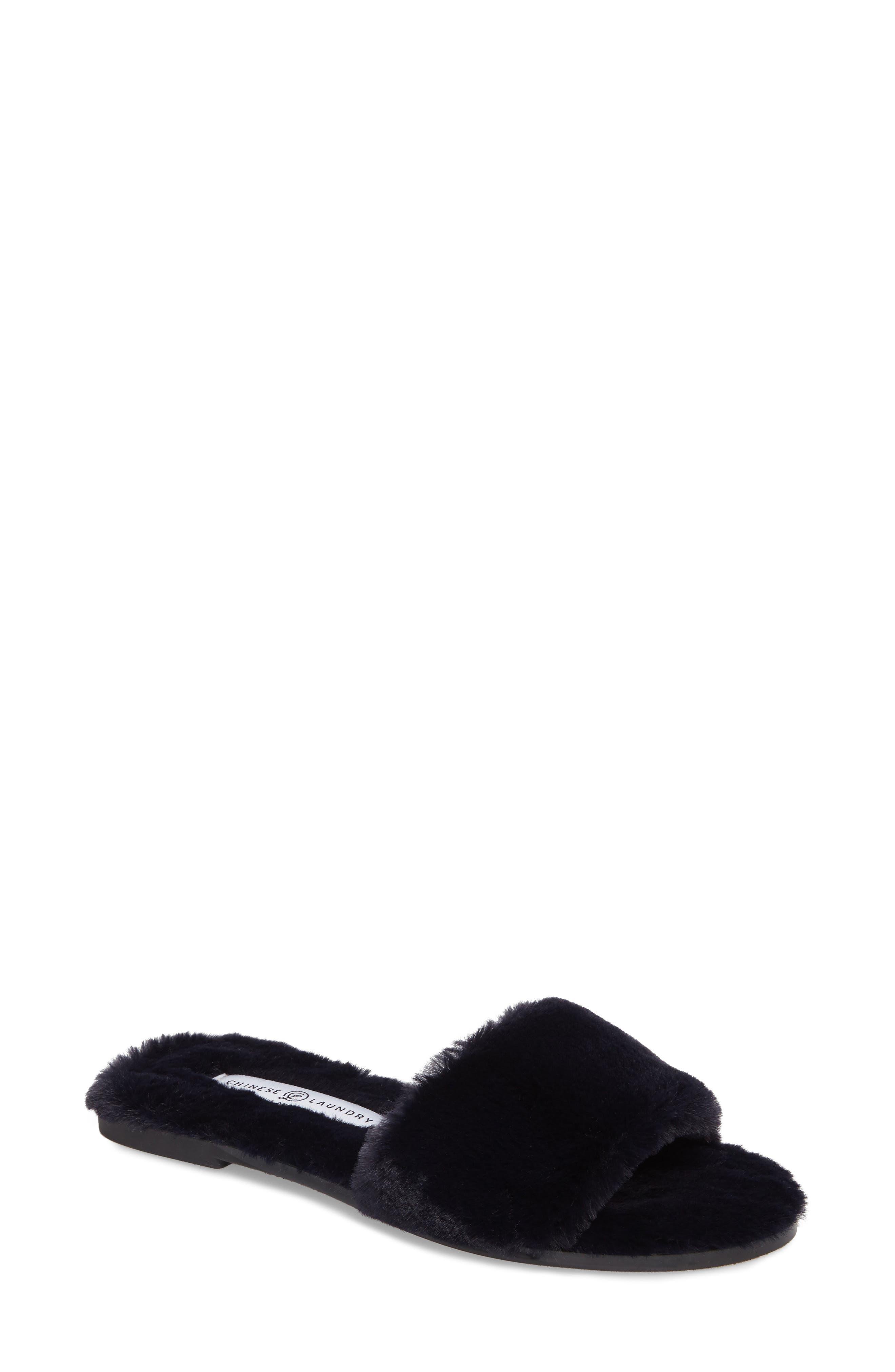 Chinese Laundry Mulholland Faux Fur Slide Sandal (Women)