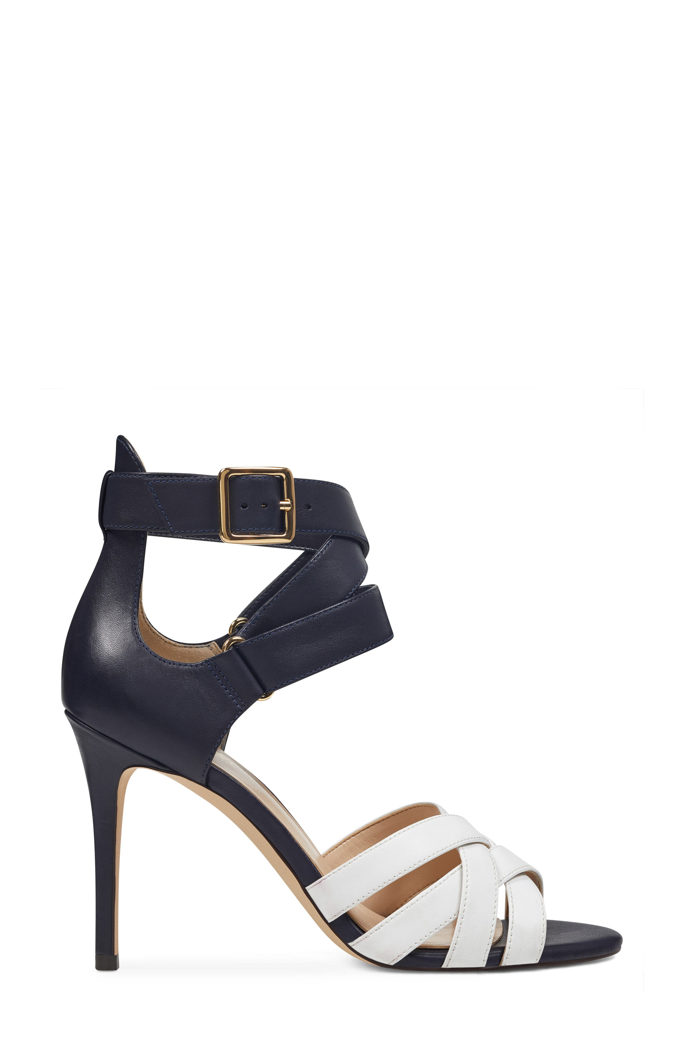 McGlynn Strappy Sandal,                             Alternate thumbnail 3, color,                             Navy/ White Leather