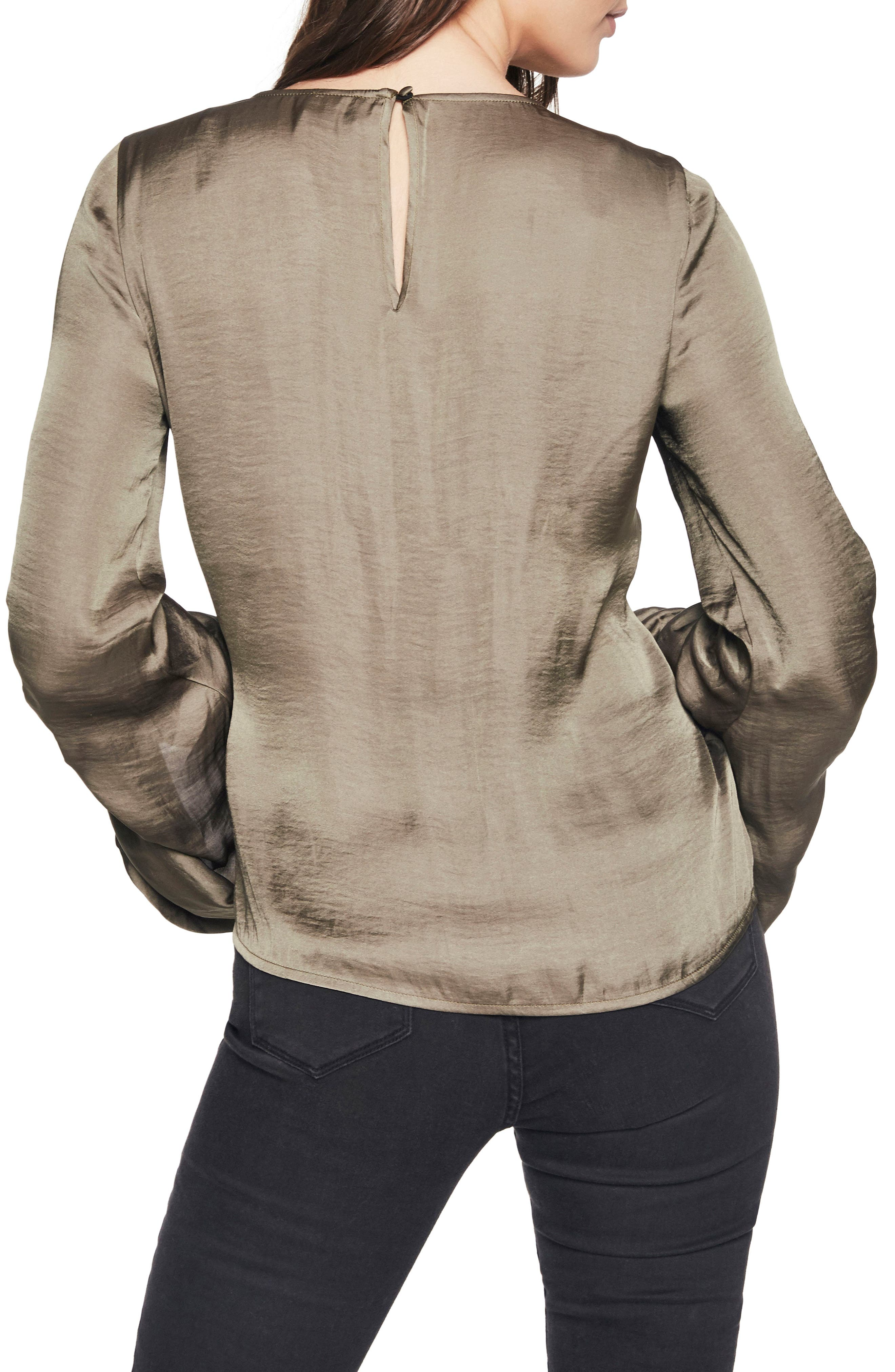 Lulu Ruched Sleeve Top,                             Alternate thumbnail 2, color,                             Khaki