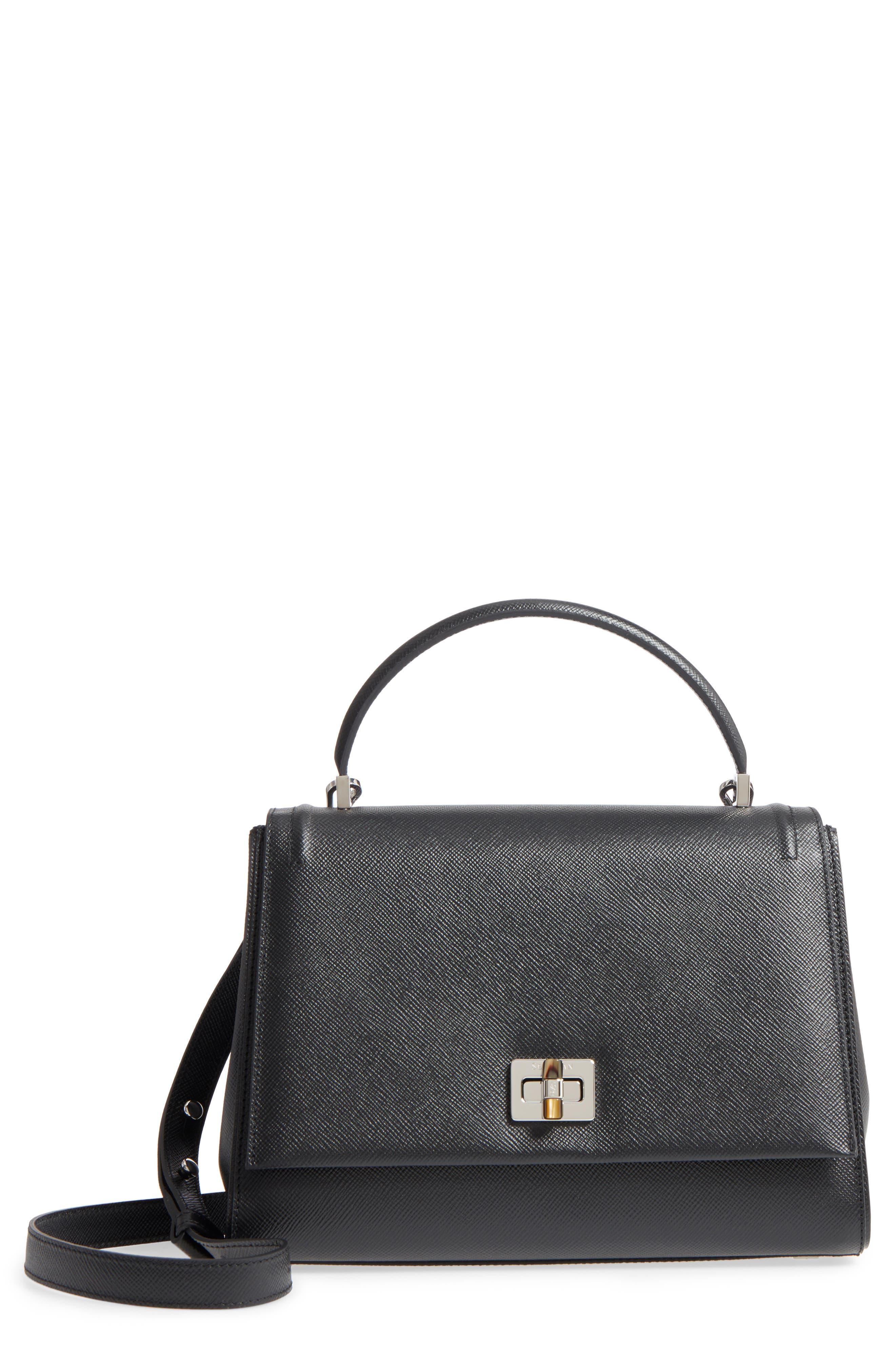 Elena Leather Top Handle Satchel,                         Main,                         color, Black