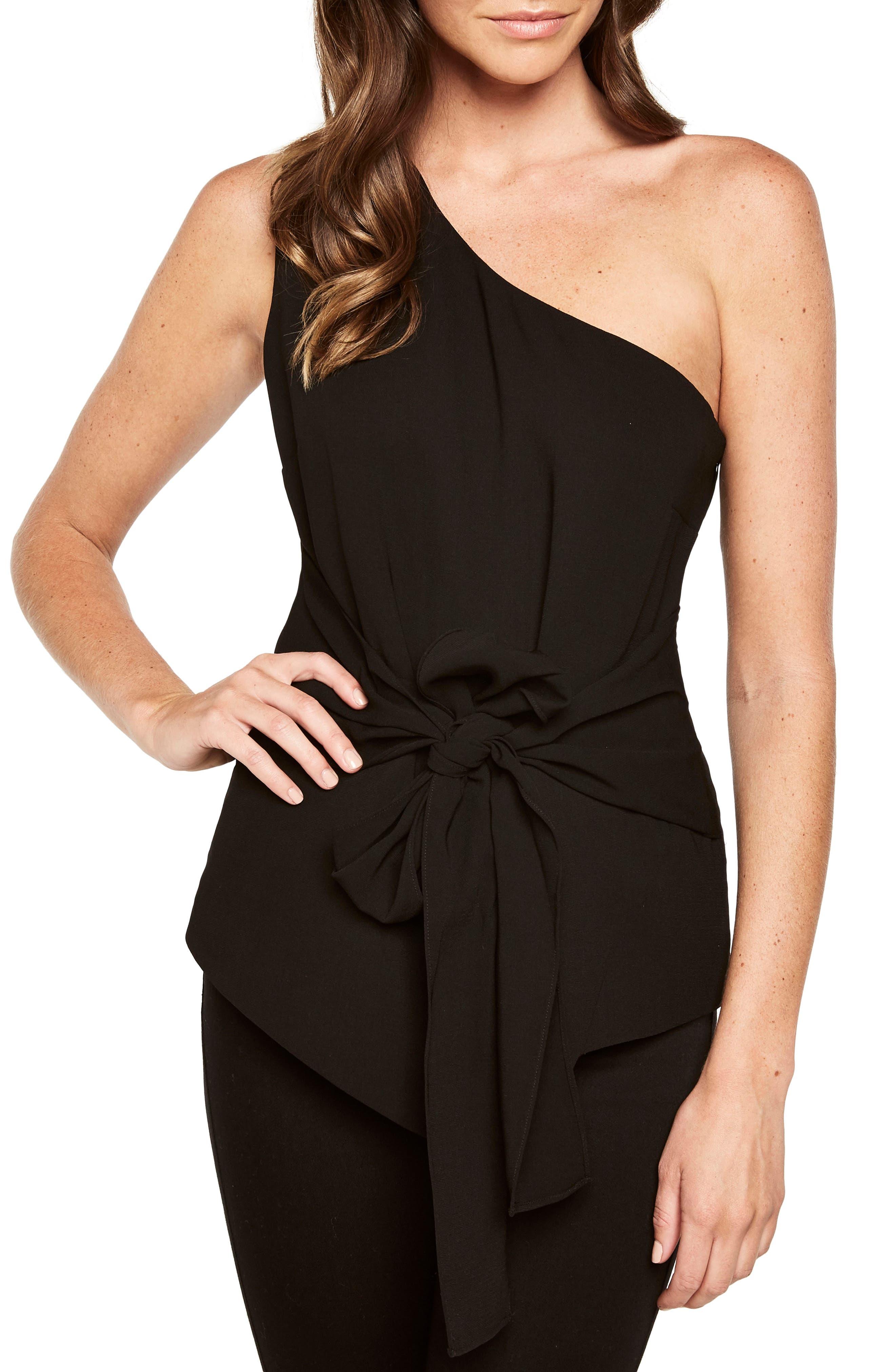 Main Image - Bardot Bow Sash One-Shoulder Top
