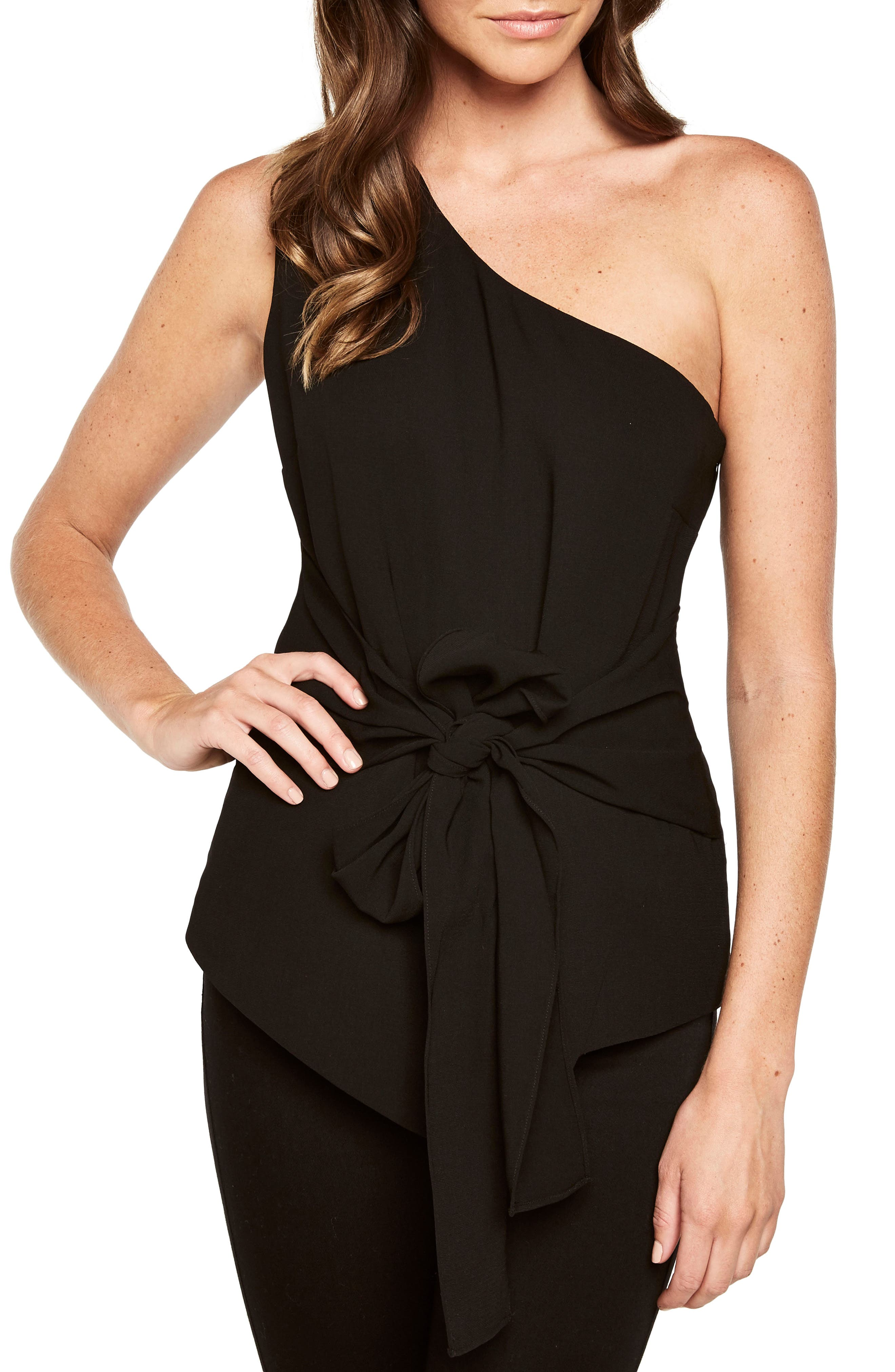 Bow Sash One-Shoulder Top,                         Main,                         color, Black