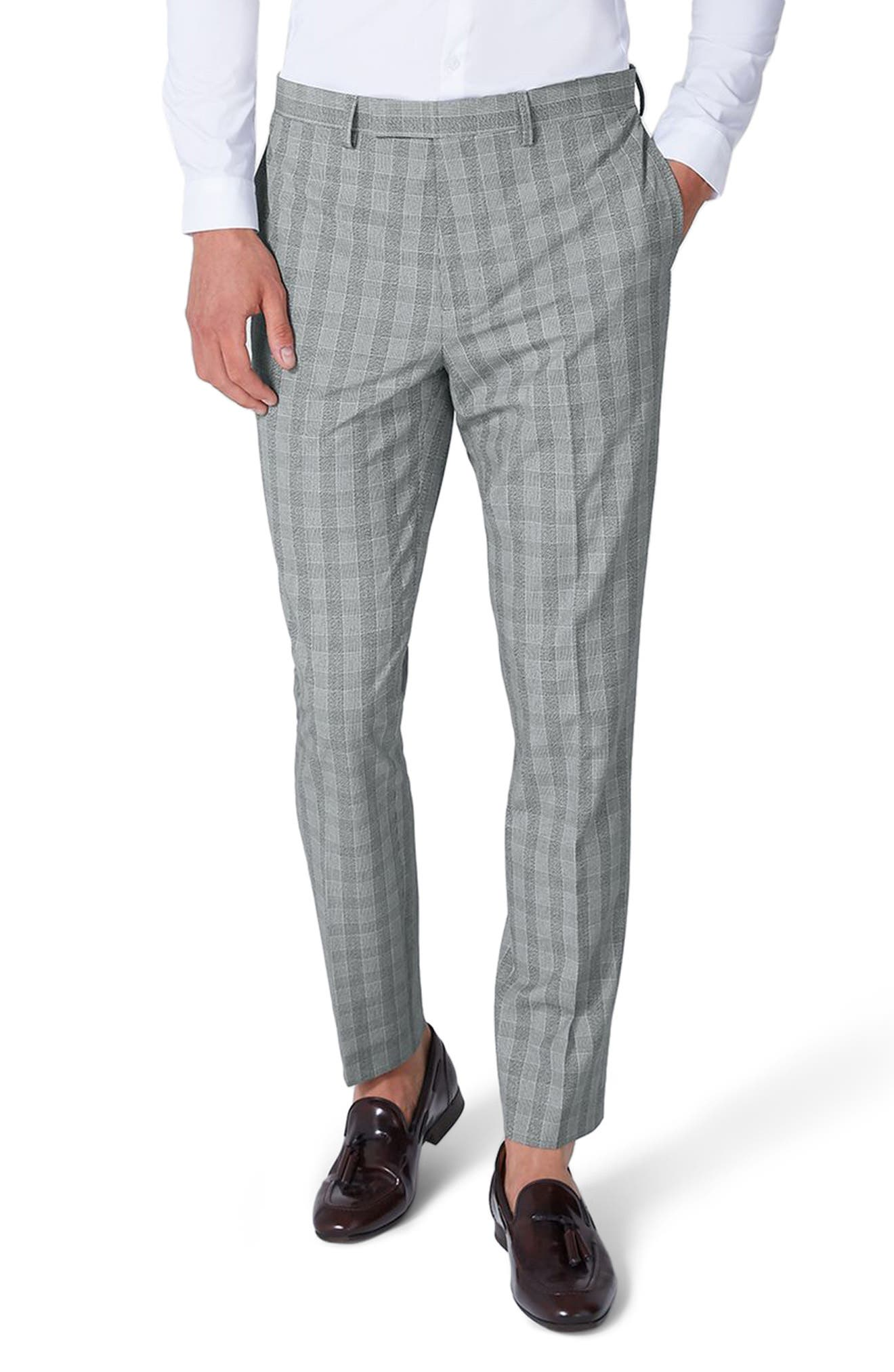 Muscle Fit Check Suit Trousers,                         Main,                         color, Grey