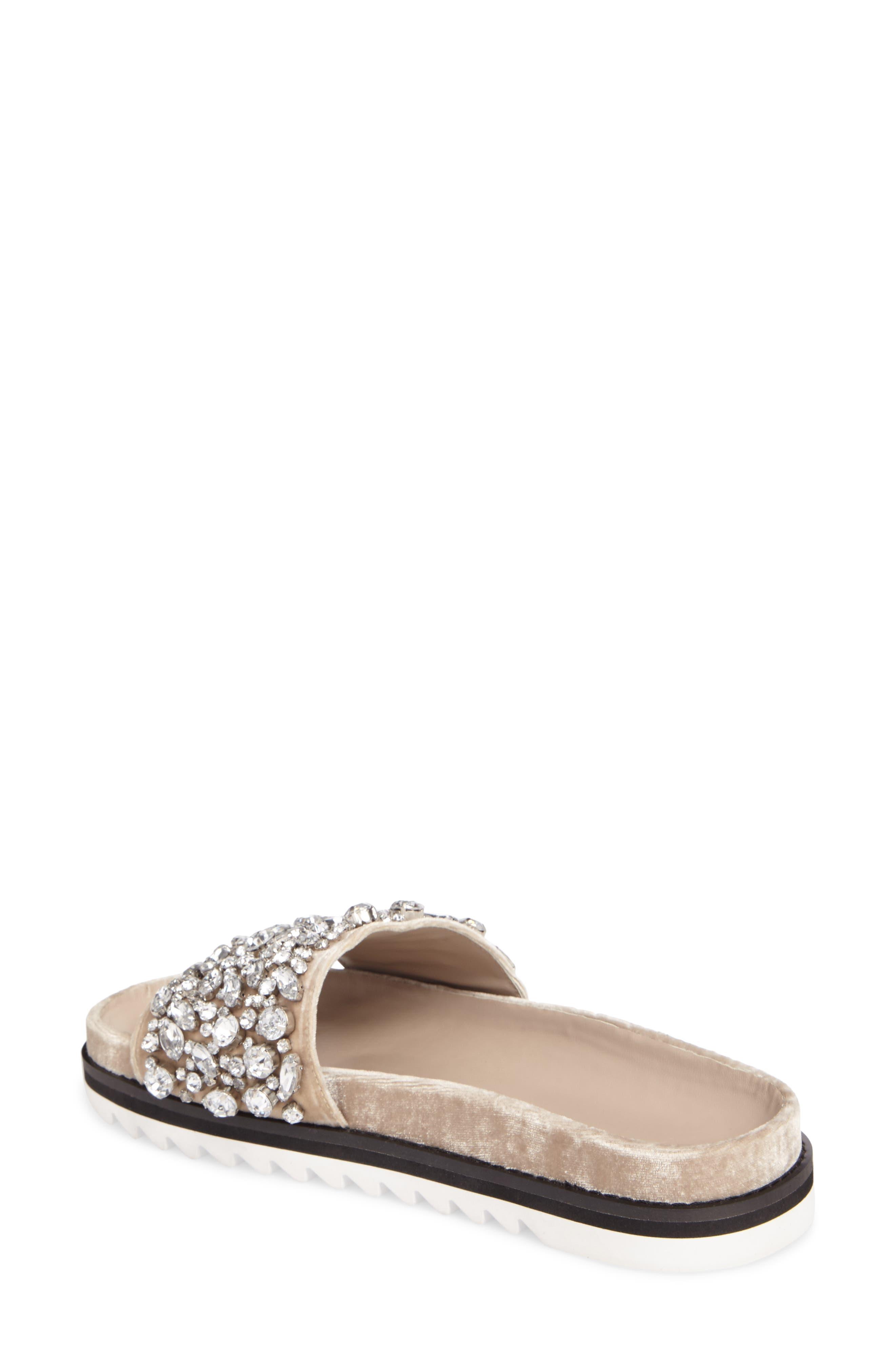 Jacory Crystal Embellished Slide Sandal,                             Alternate thumbnail 2, color,                             Fog
