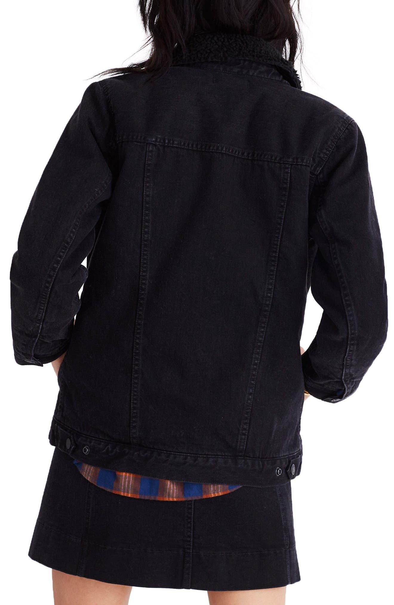 Oversize Denim Jacket with Fleece Collar,                             Alternate thumbnail 2, color,                             Gallagher Wash