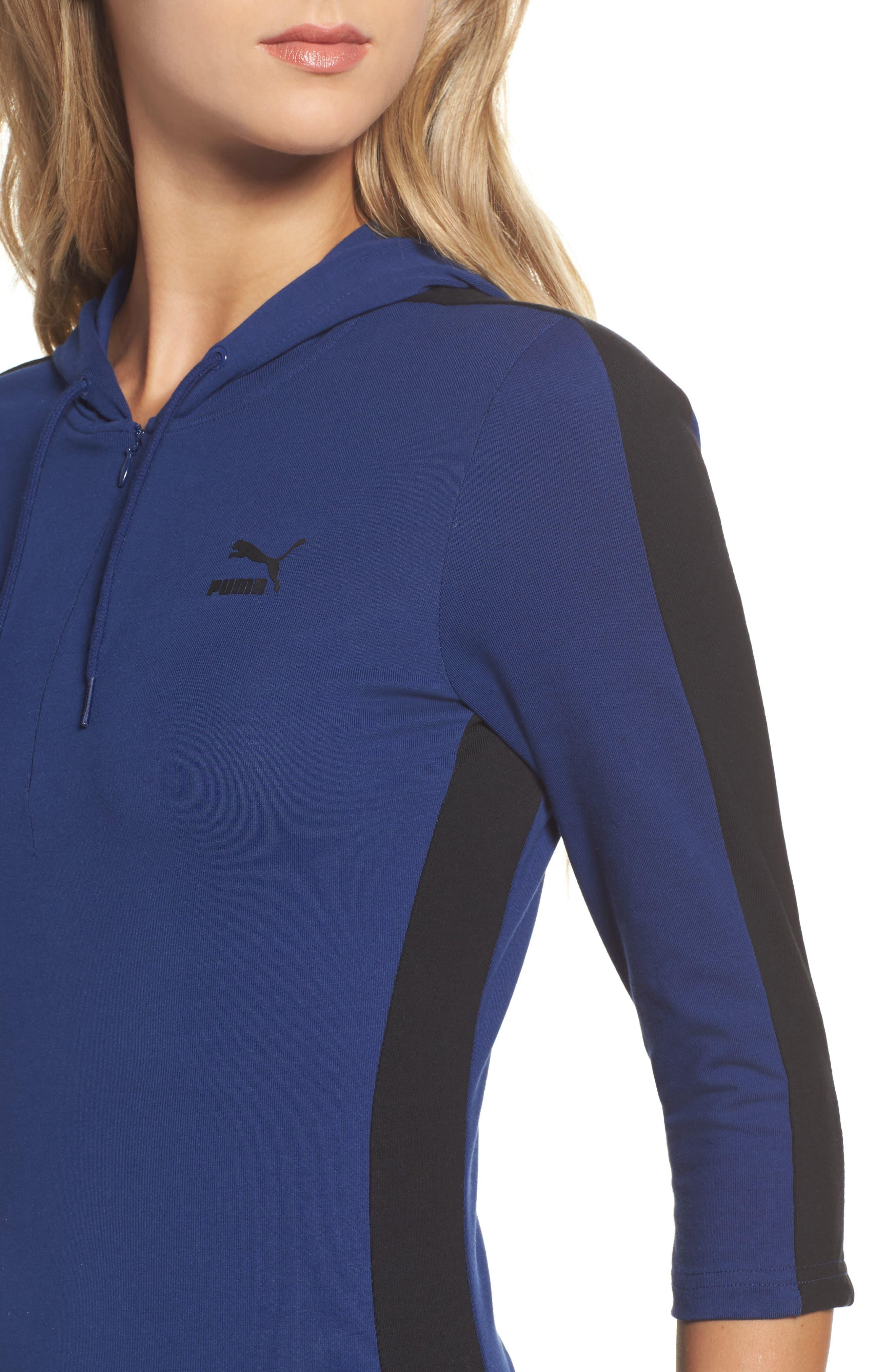T7 Sweatshirt Dress,                             Alternate thumbnail 4, color,                             Blue Depths