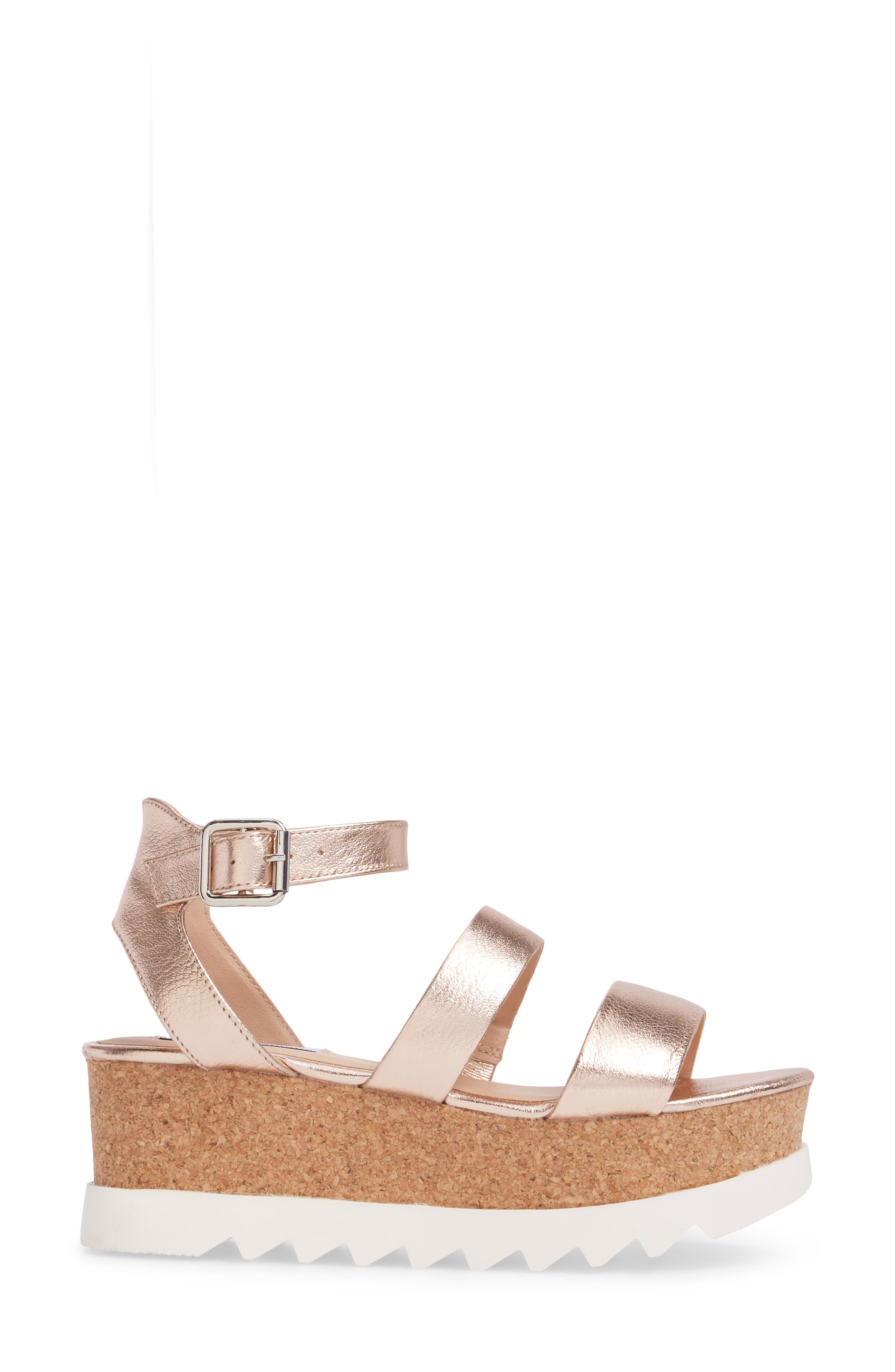 Kirsten Layered Platform Sandal,                             Alternate thumbnail 3, color,                             Rose Leather