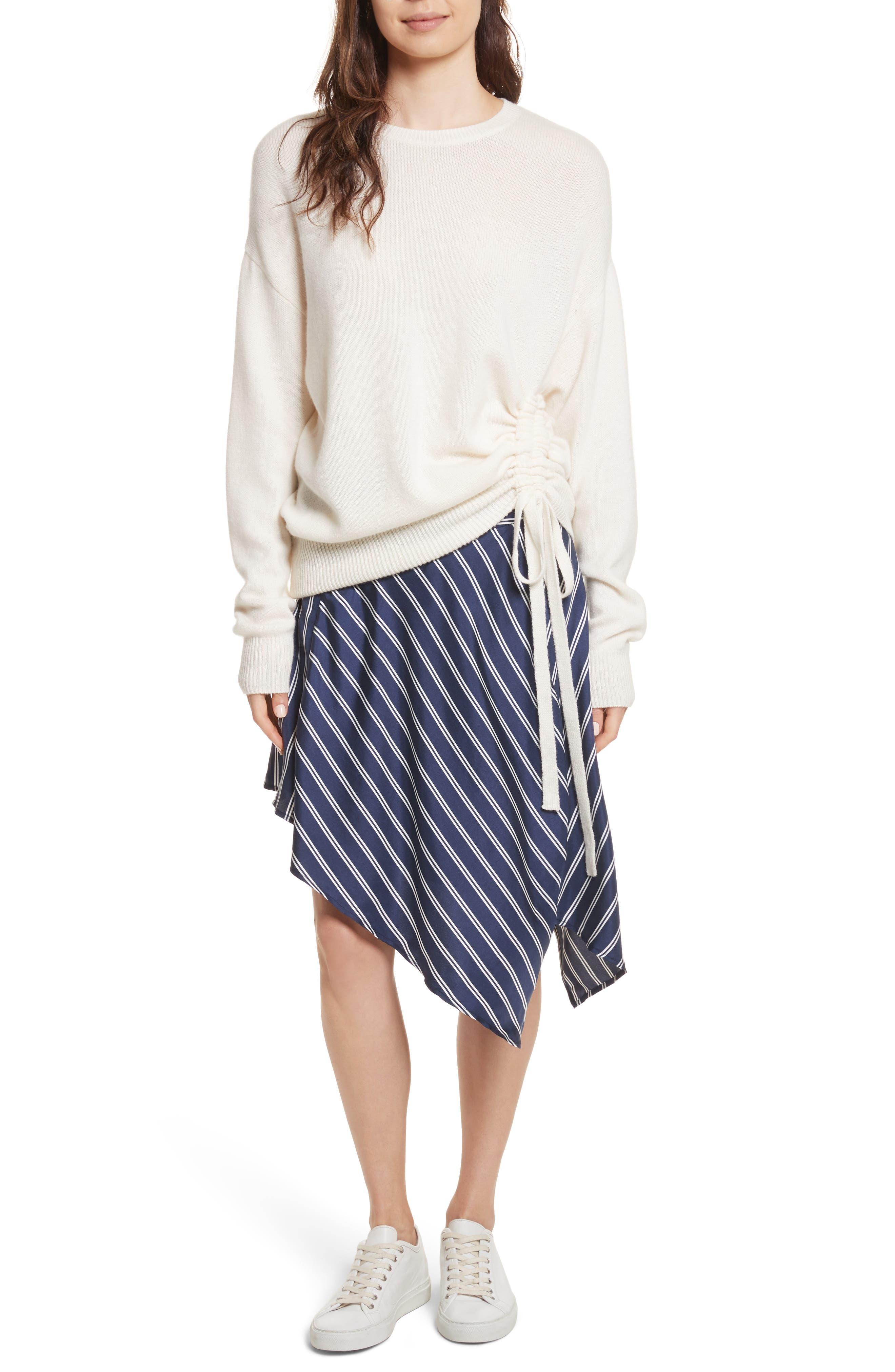 Adelpha Stripe Silk Skirt,                             Alternate thumbnail 7, color,                             Dark Navy