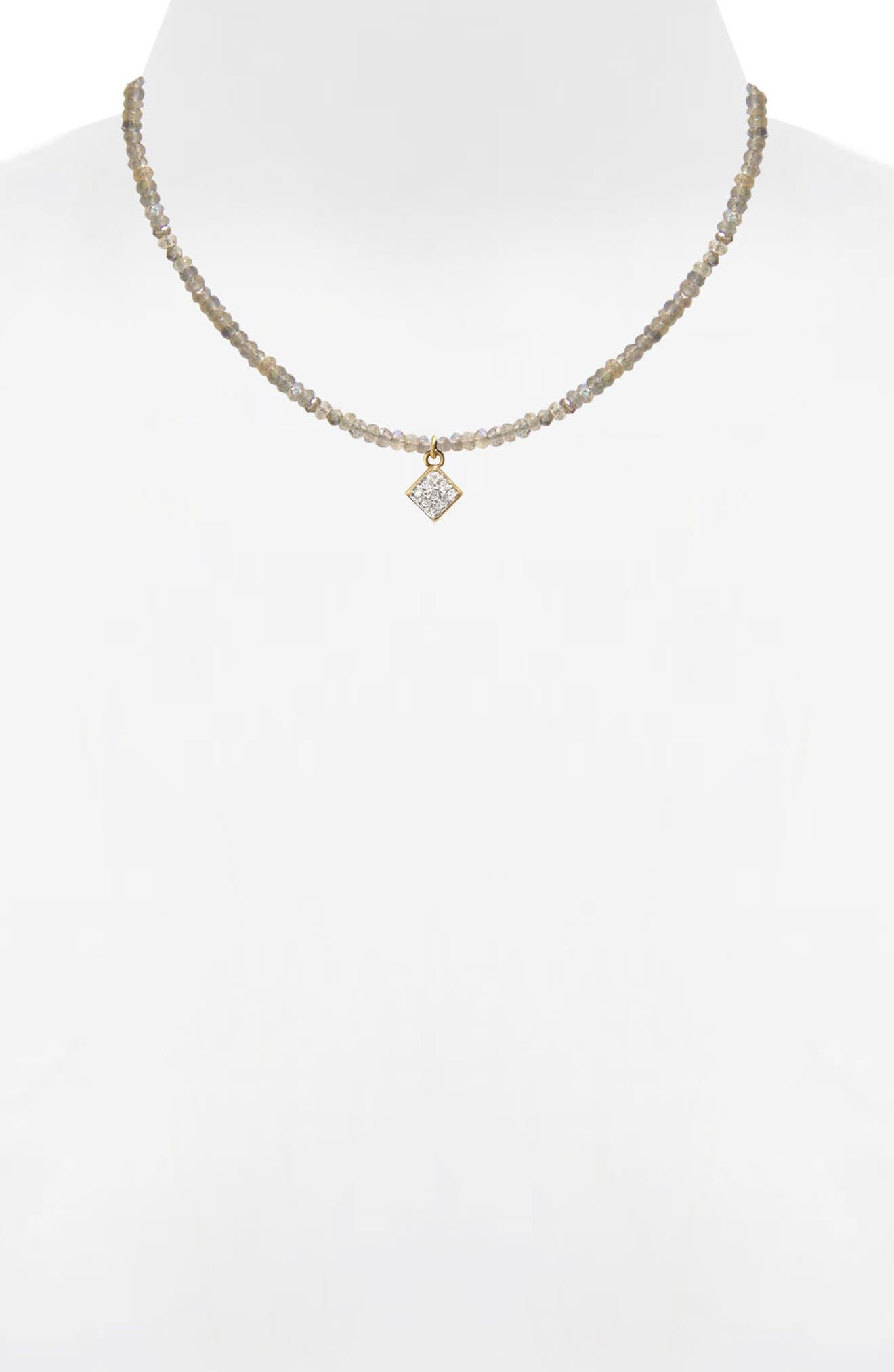 Jane Basch Diamond Charm Pendant Necklace,                             Alternate thumbnail 2, color,                             Labradorite