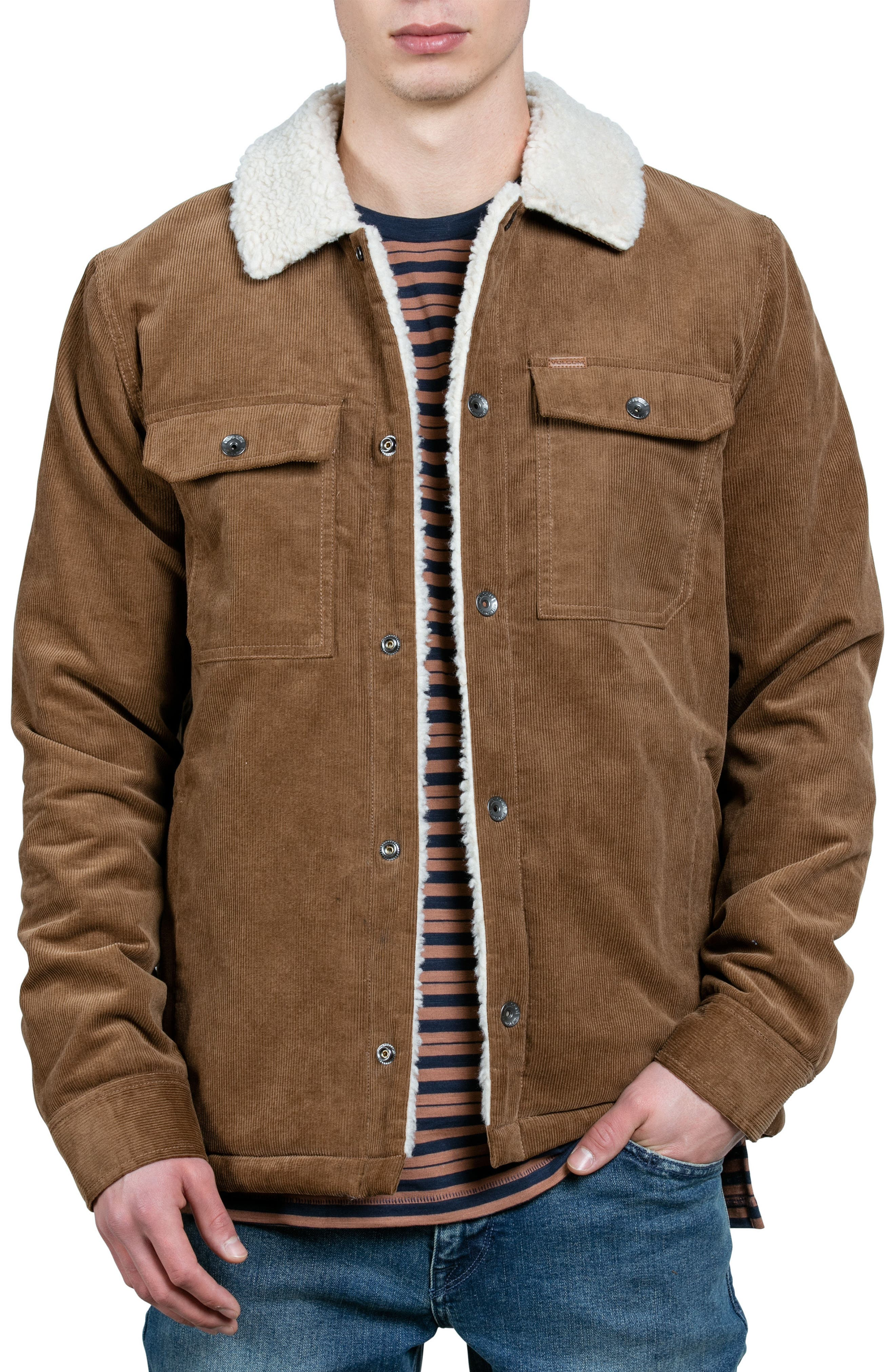Keaton Jacket with Faux Shearling Trim,                             Main thumbnail 1, color,                             Brown