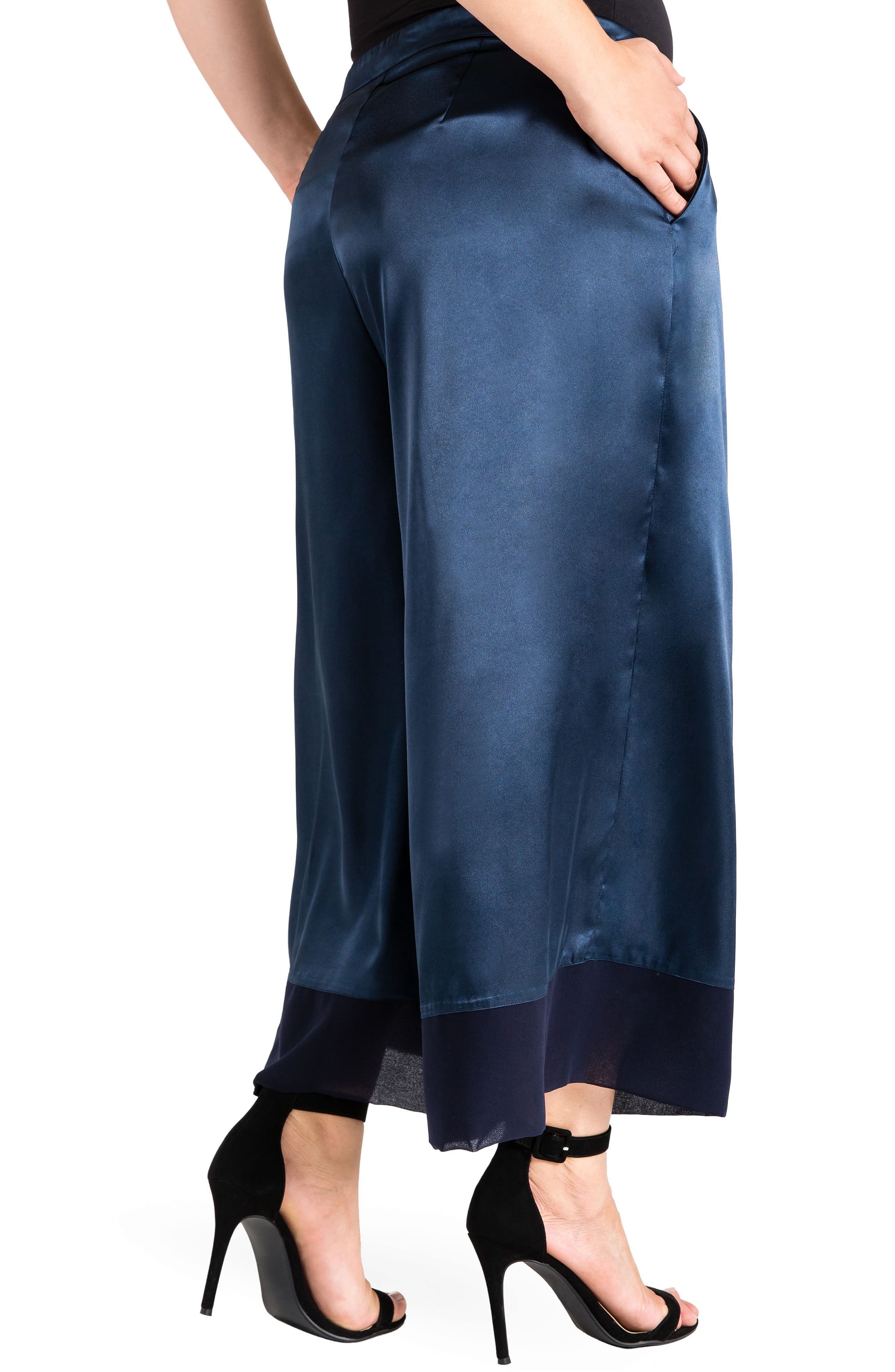 Morgan Crop Sateen Pants,                             Alternate thumbnail 3, color,                             Midnight Blue