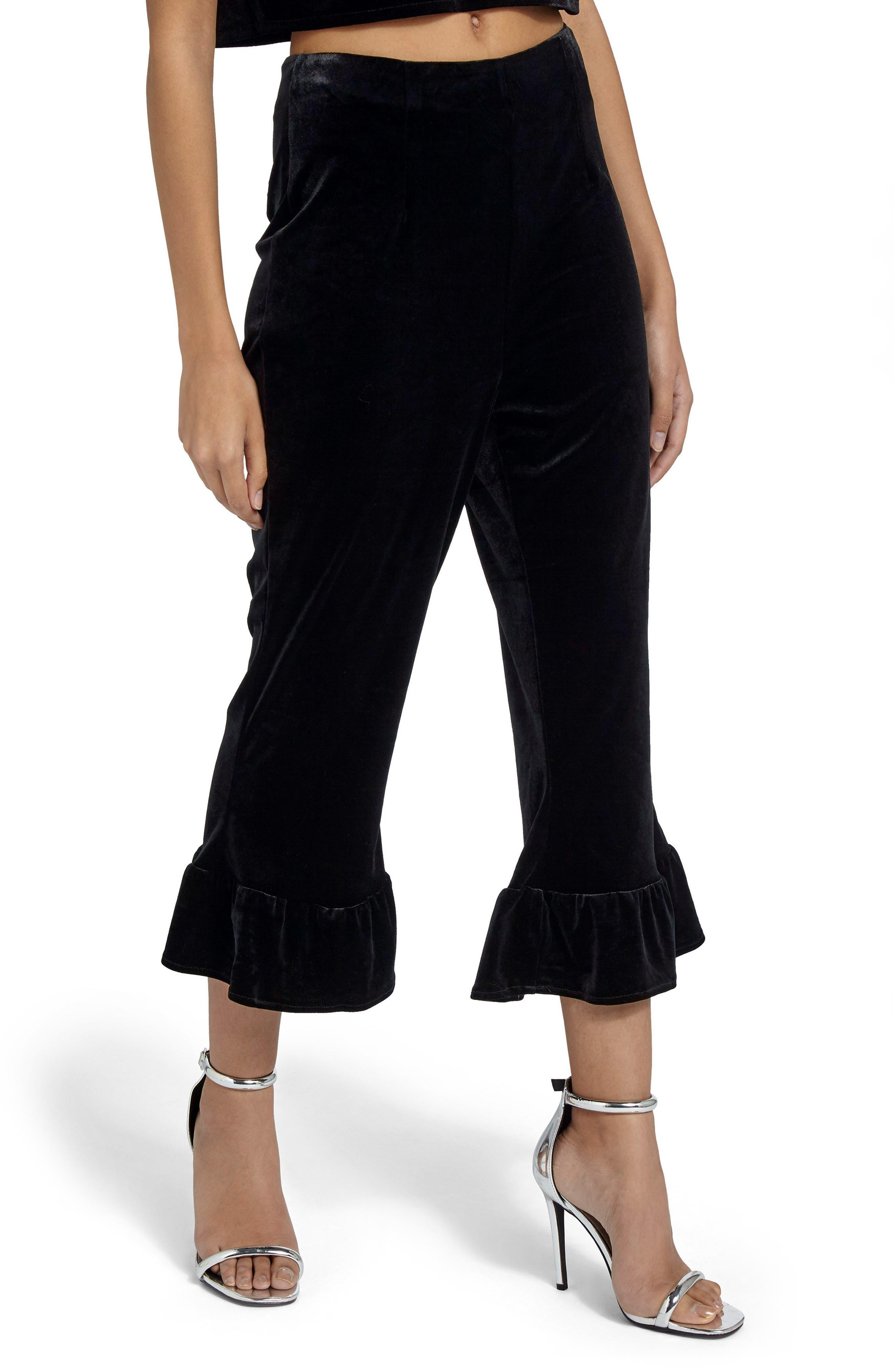Missguided Ruffle Hem Velvet Crop Pants