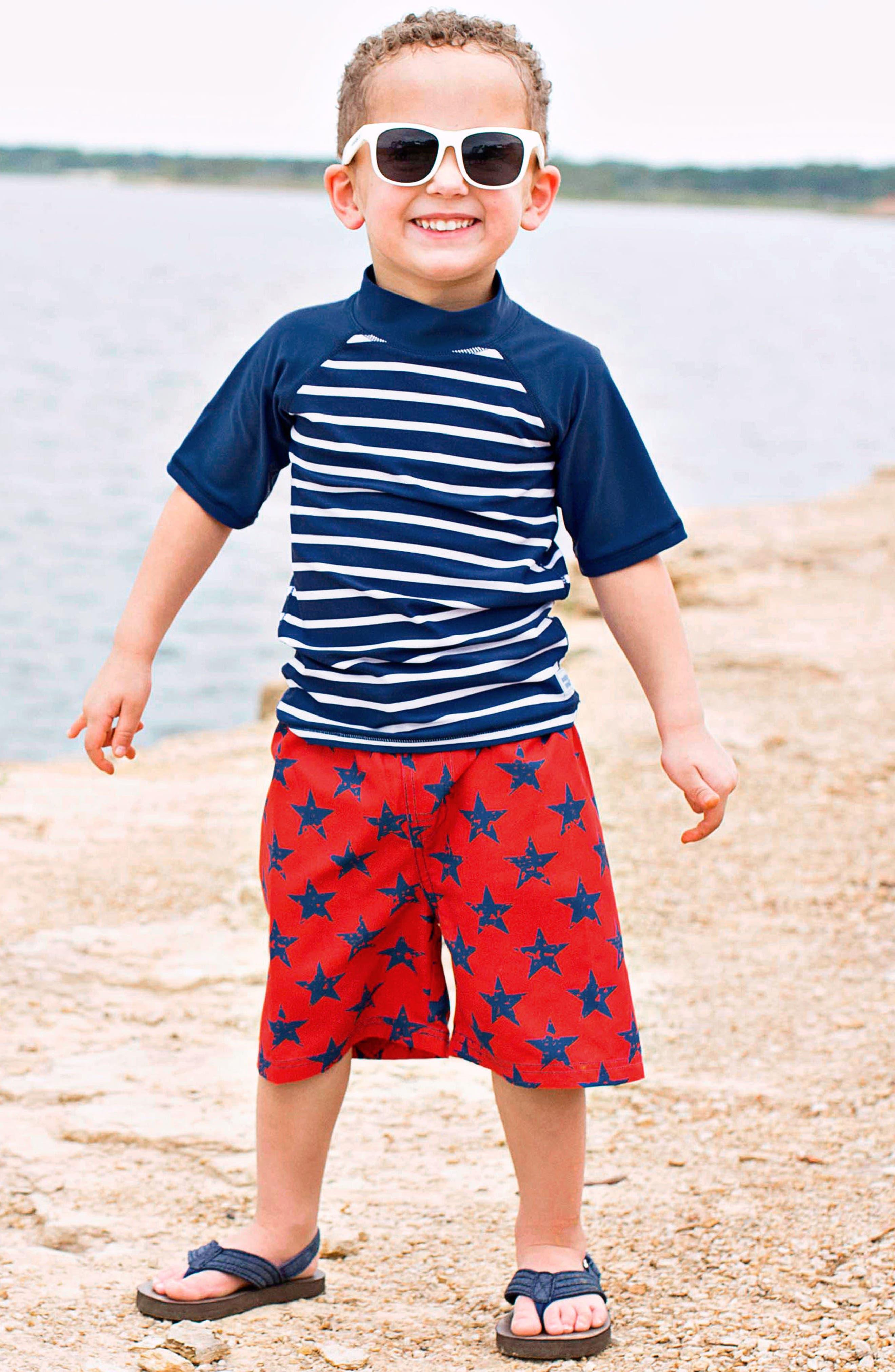 Navy Stripe Two-Piece Rashguard Swimsuit,                             Alternate thumbnail 2, color,                             Blue