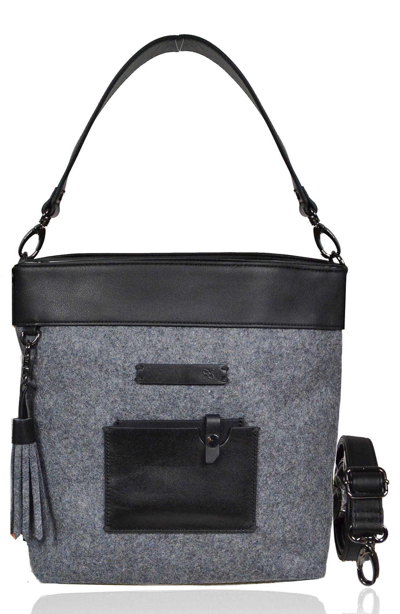 Boheme Wool & Leather Convertible Crossbody Bag,                             Main thumbnail 1, color,                             Slate