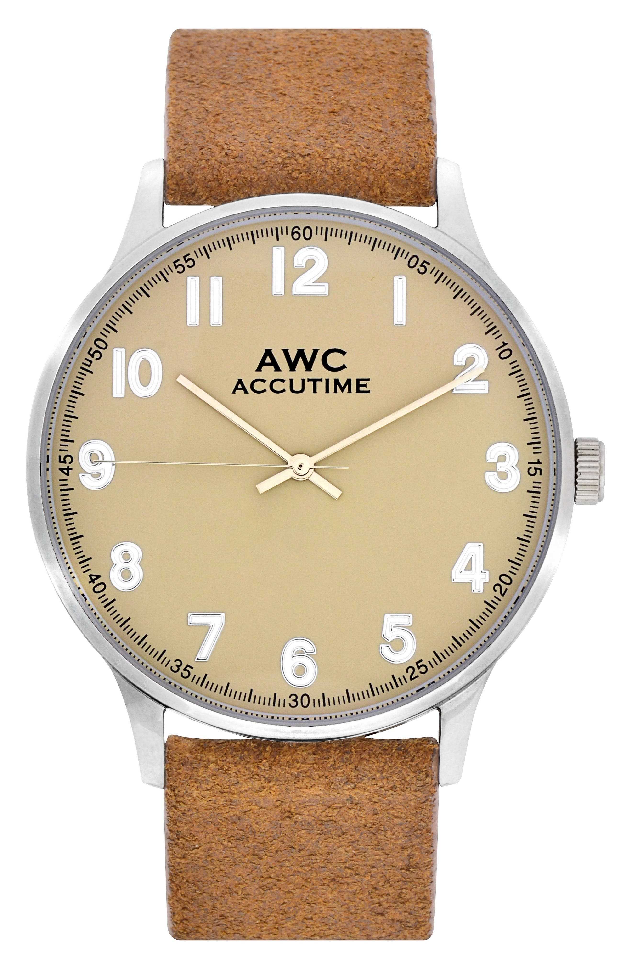 Alternate Image 1 Selected - Accutime Numerial Suede Strap Watch, 40mm