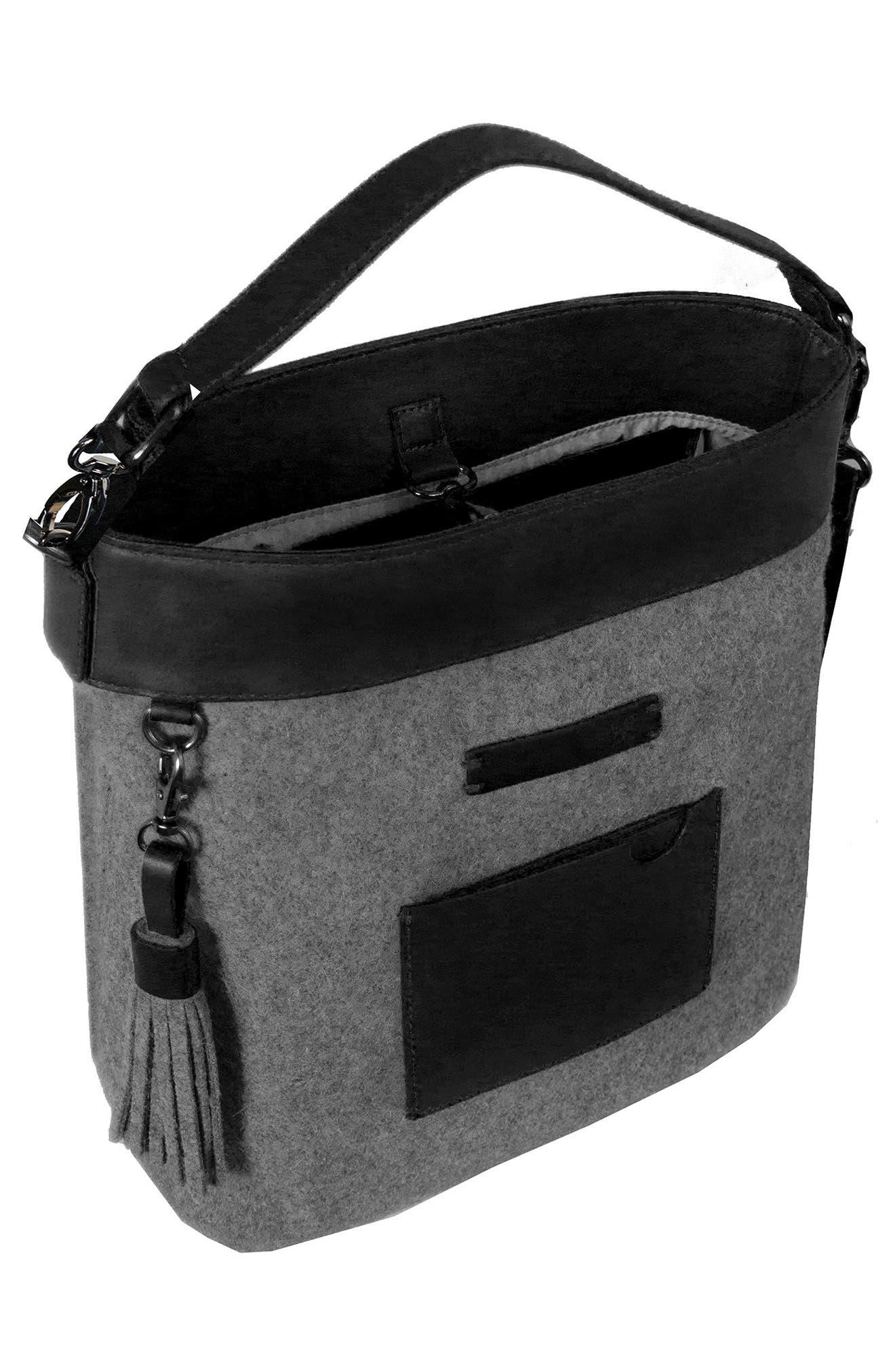 Boheme Wool & Leather Convertible Crossbody Bag,                             Alternate thumbnail 3, color,                             Slate
