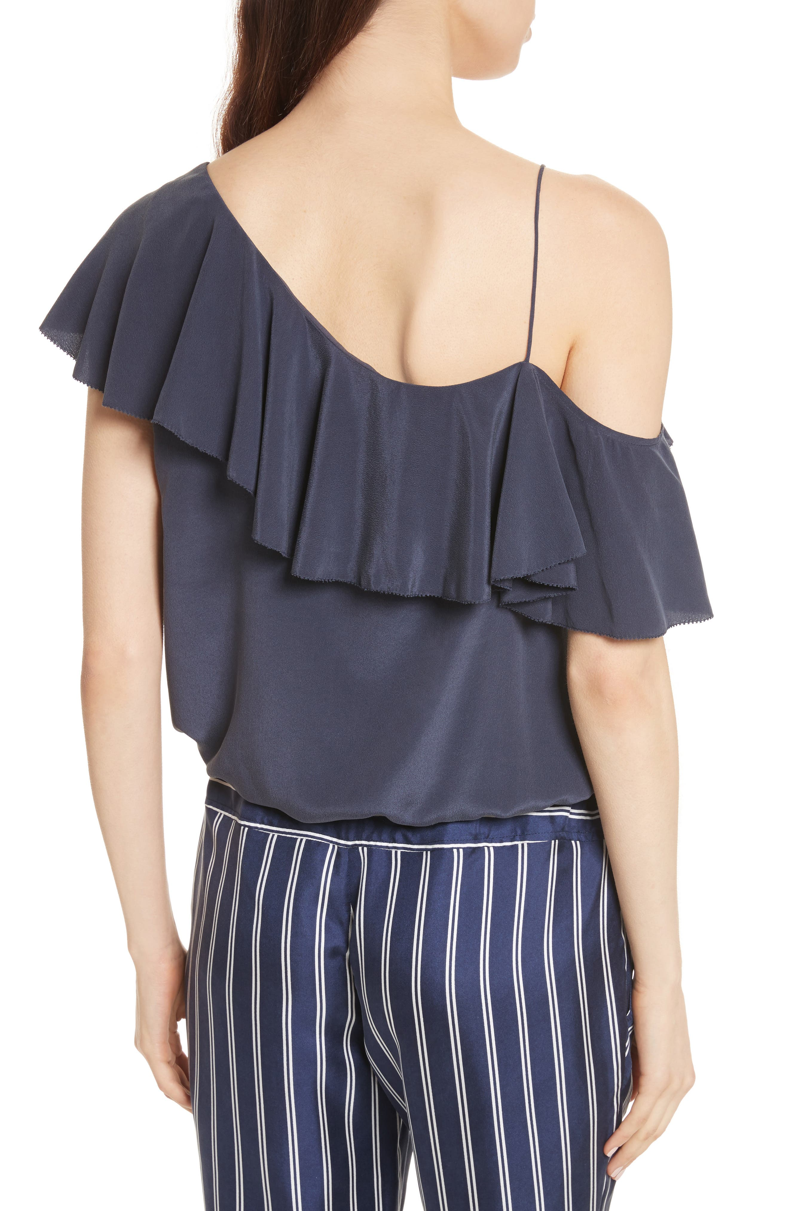 Alcyoneus Off the Shoulder Silk Top,                             Alternate thumbnail 2, color,                             Dark Navy