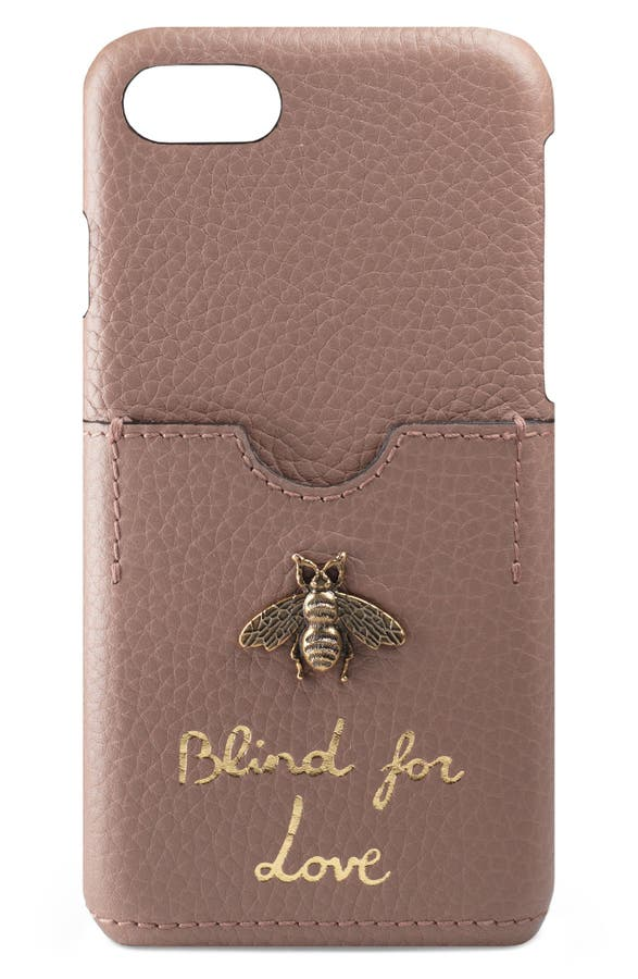 Gucci Animalier Bee Leather iPhone 7 Case   Nordstrom