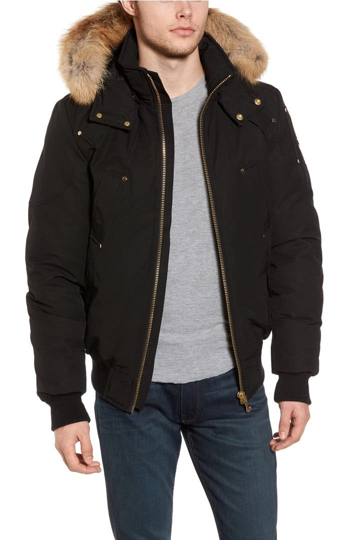 Moose Knuckles Red Deer Slim Bomber Jacket With Genuine