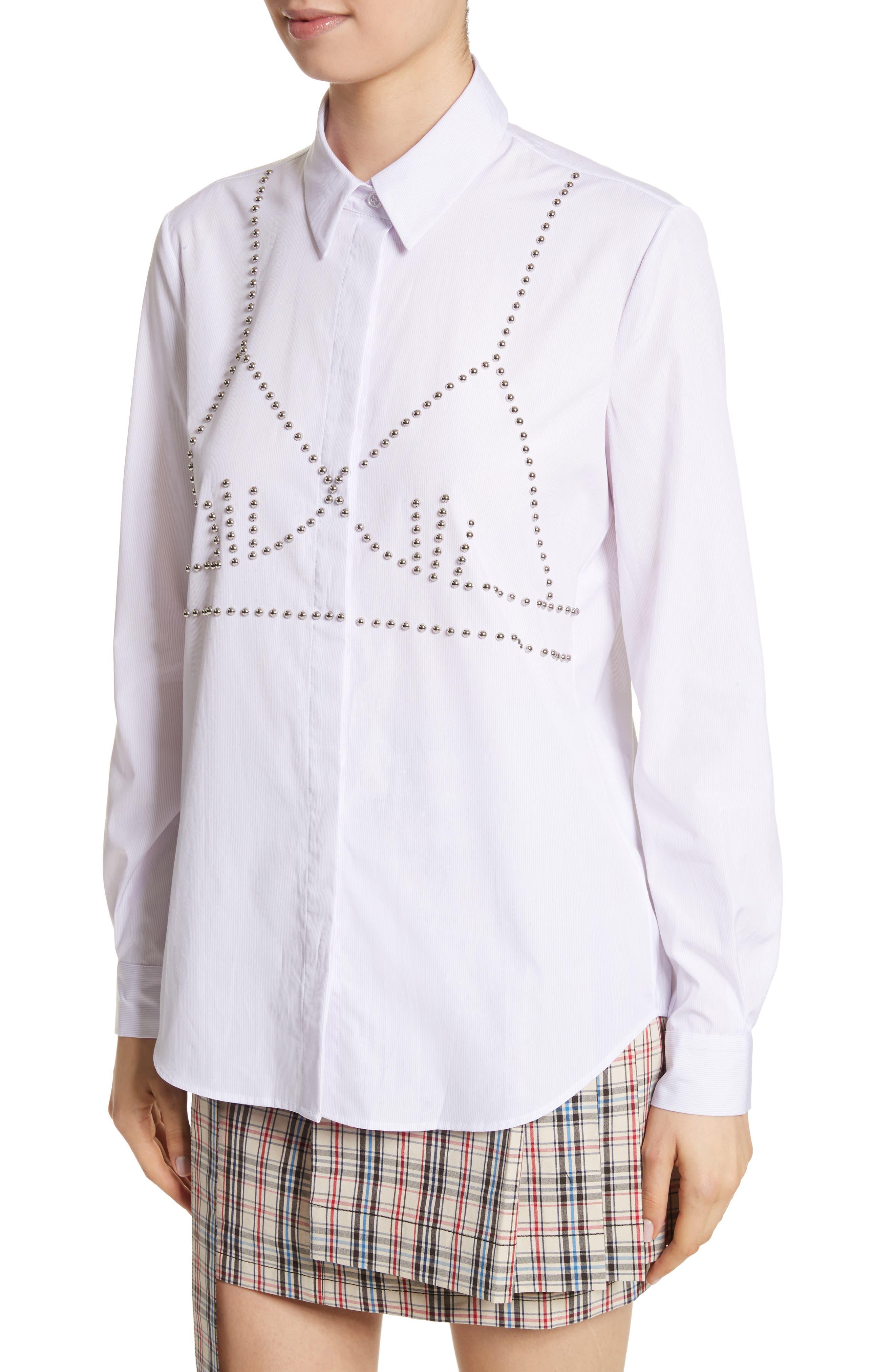 Classic Studded Bra Shirt,                             Alternate thumbnail 4, color,                             Lilac/ White