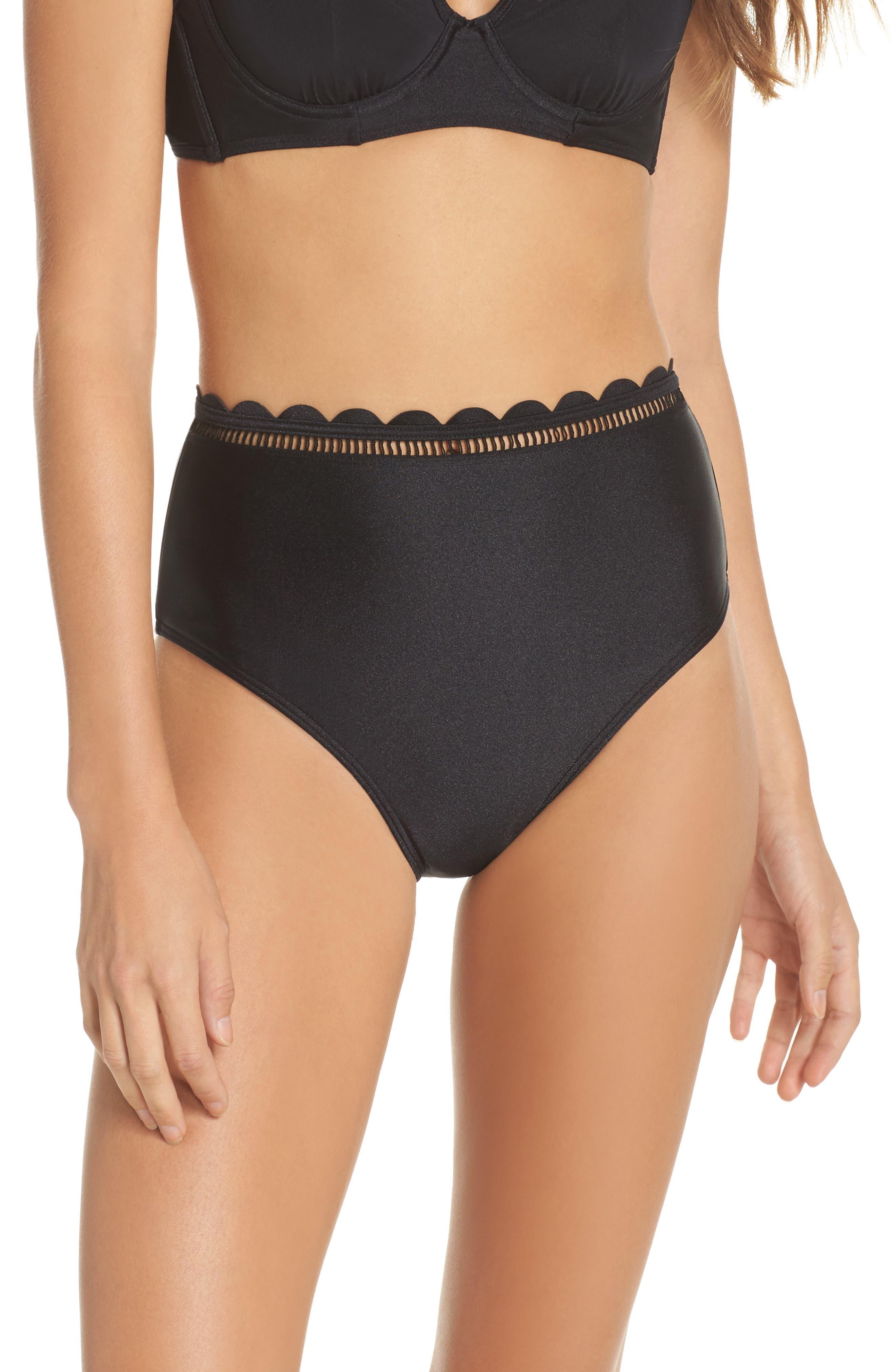 Scallop High Waist Bikini Bottoms,                         Main,                         color, Black