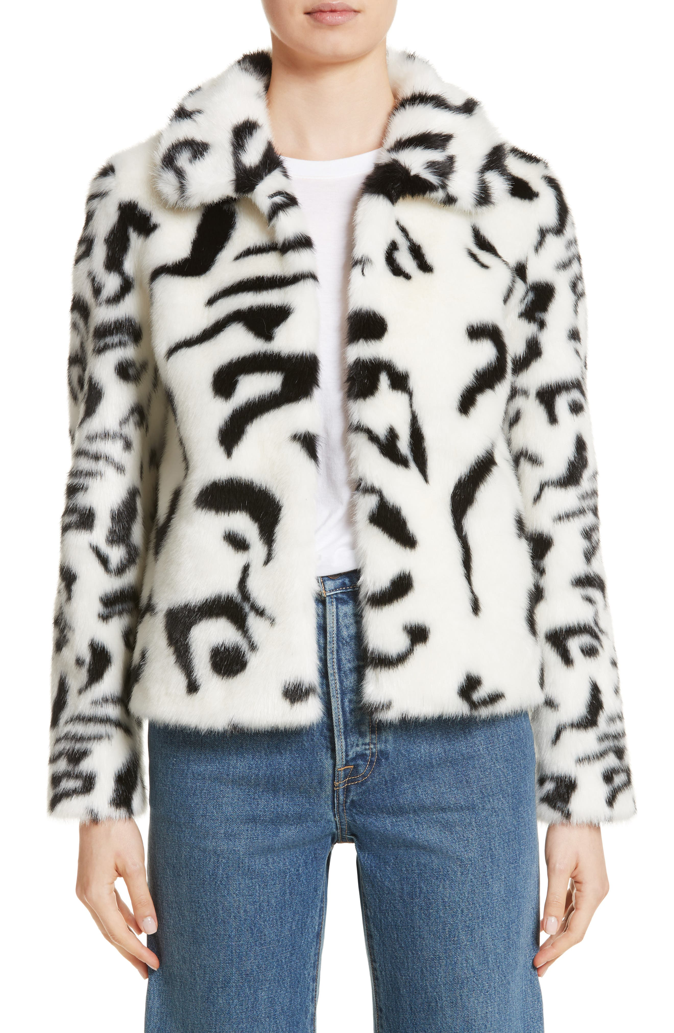 Junior Faux Fur Jacket,                         Main,                         color, White/ Black