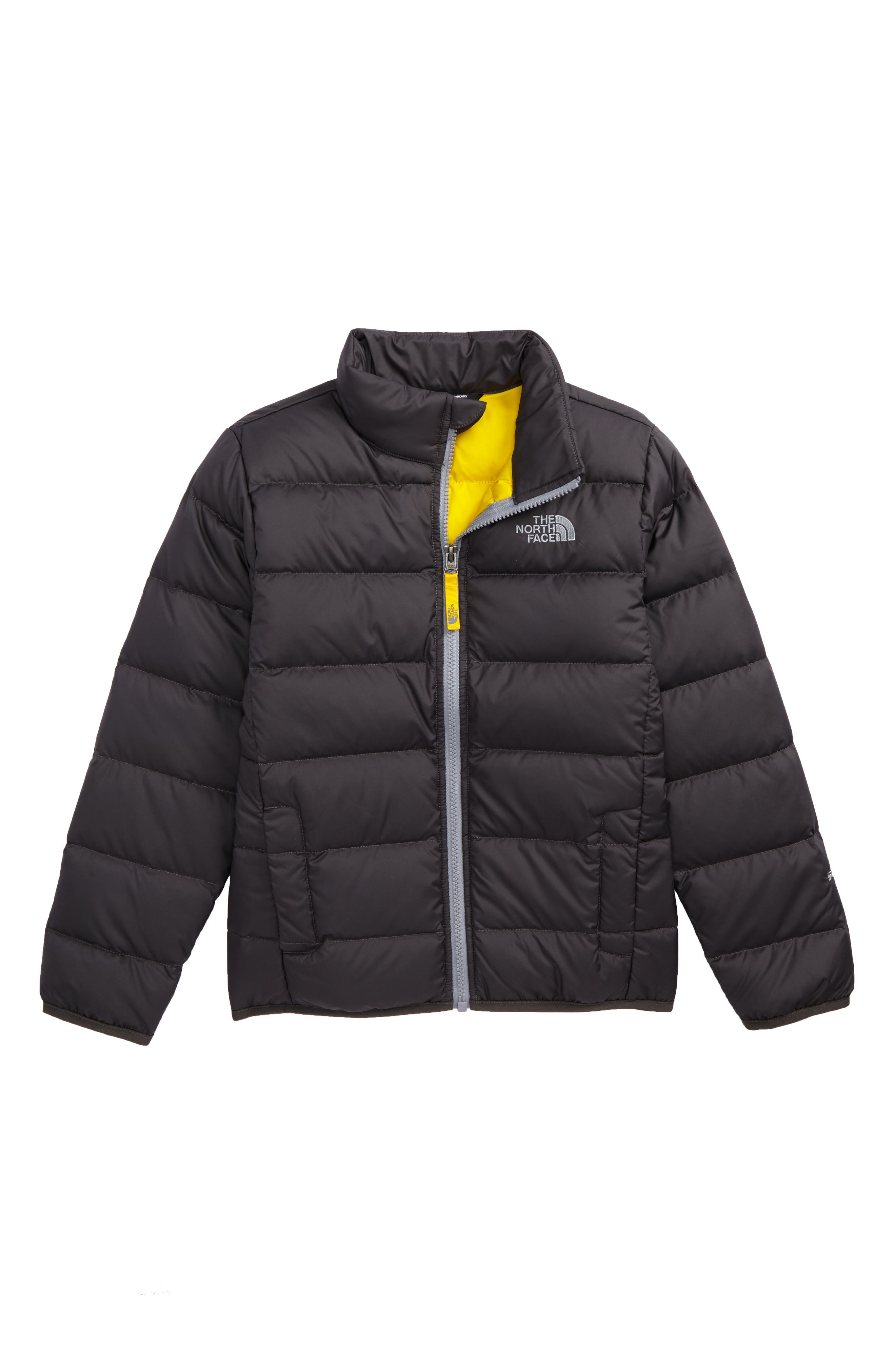 Andes Water Repellent 550-Fill Power Down Jacket,                             Main thumbnail 1, color,                             Graphite Grey/ Canary Yellow