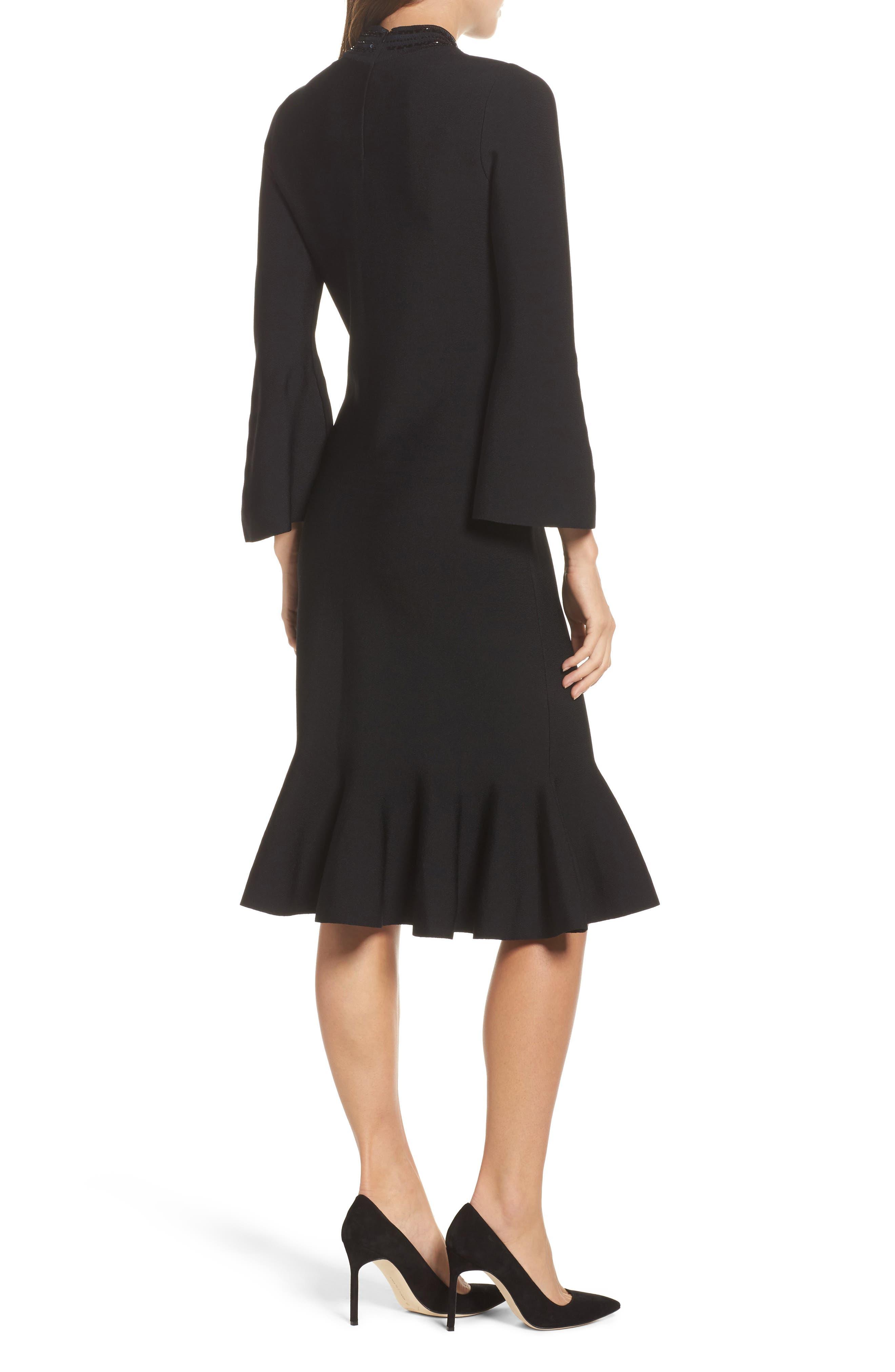 Sequin Midi Dress,                             Alternate thumbnail 2, color,                             Black Onyx