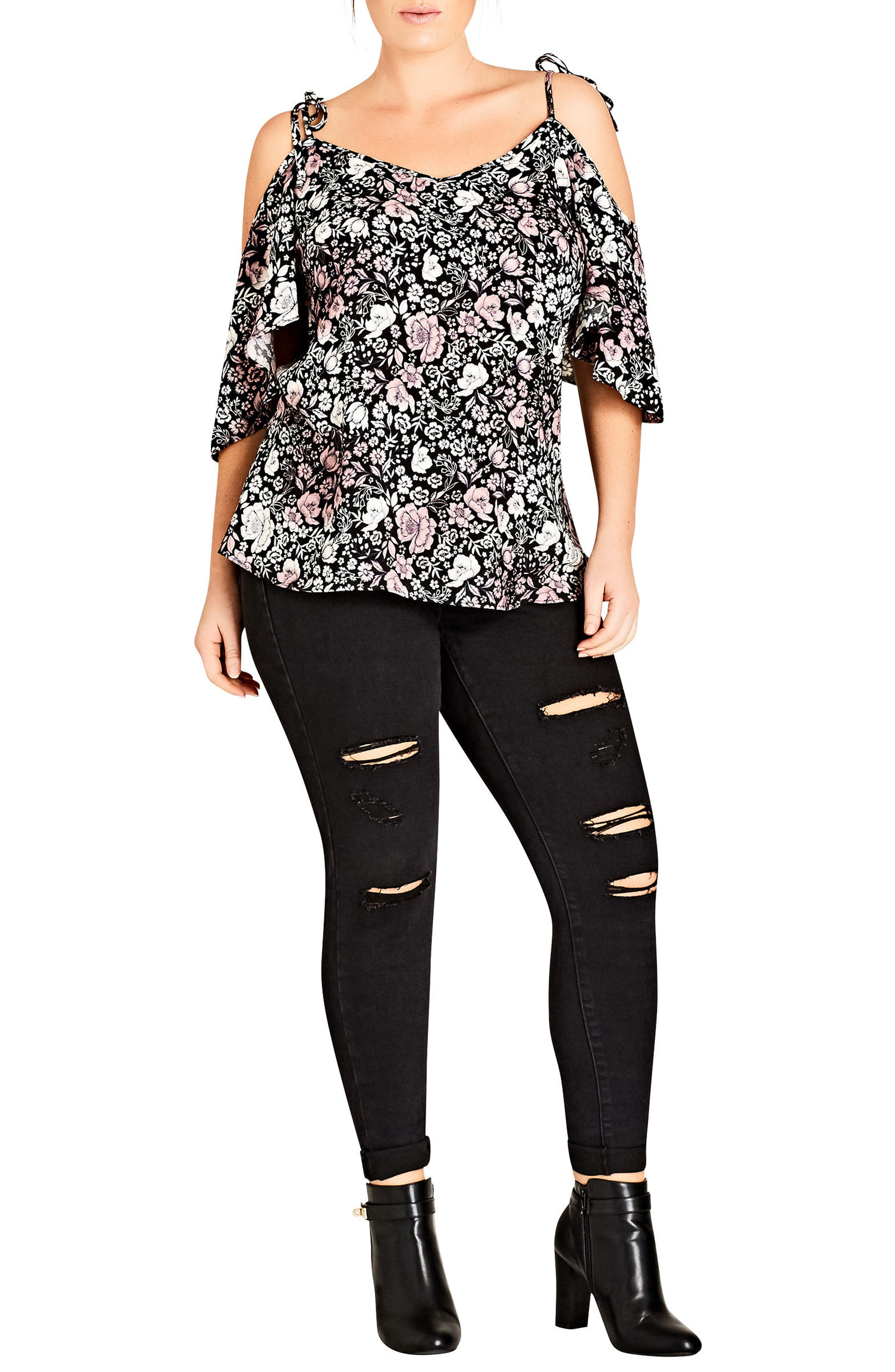 Alternate Image 1 Selected - City Chic Etched Floral Cold Shoulder Top (Plus Size)