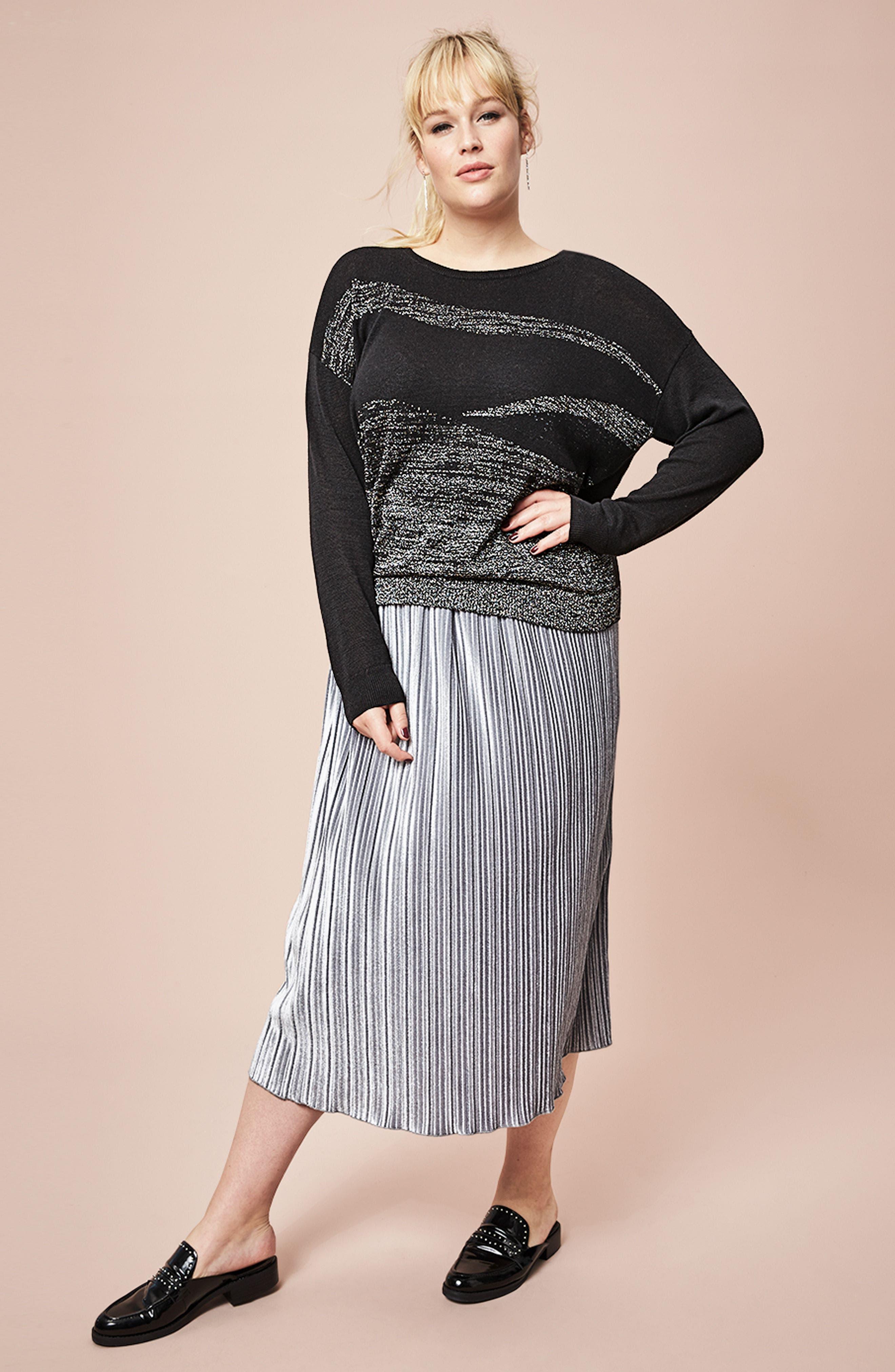 Pleat Velour Midi Skirt,                             Alternate thumbnail 2, color,