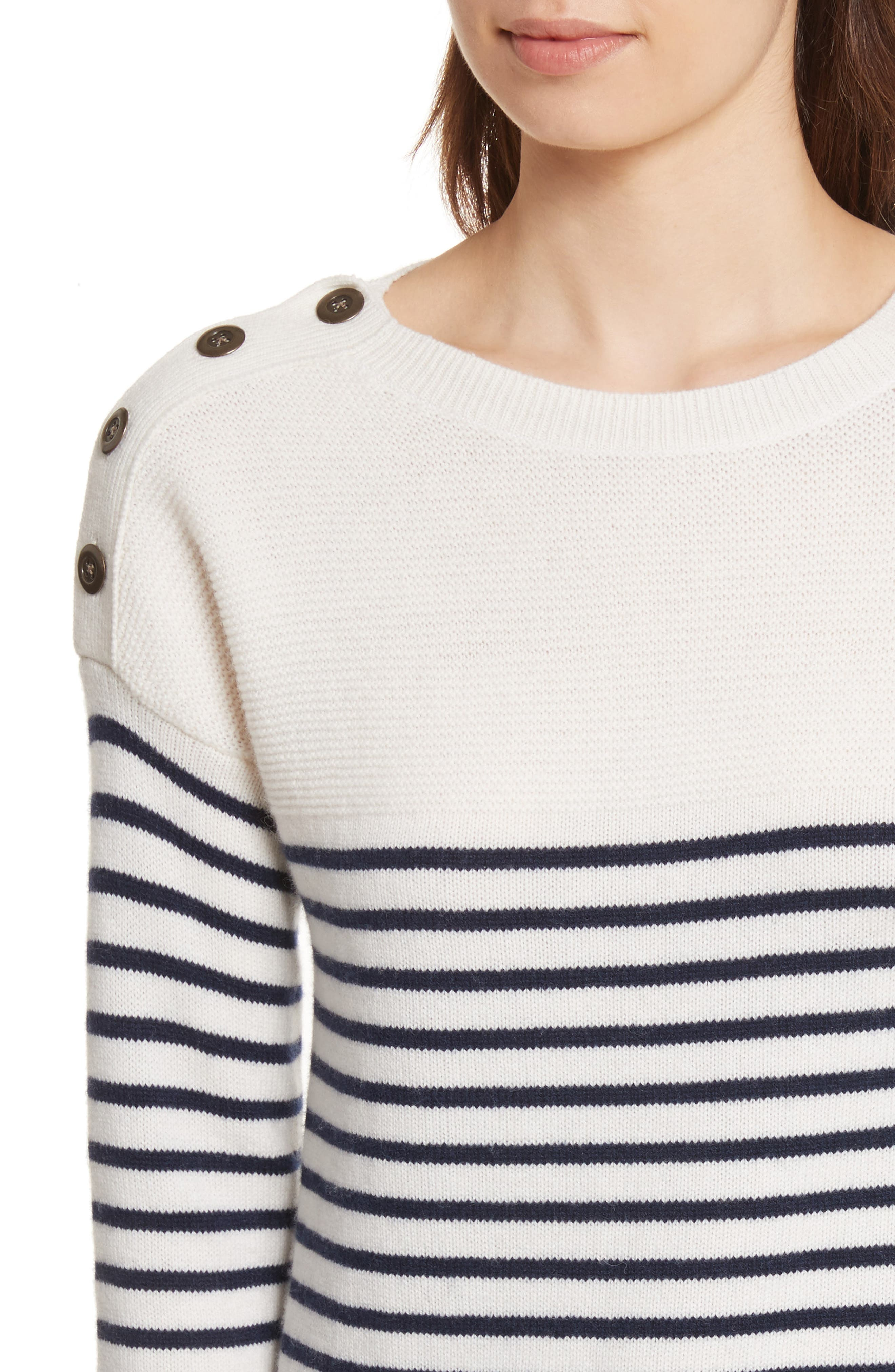 Aefre Woven Trim Wool & Cashmere Sweater,                             Alternate thumbnail 4, color,                             Porcelain/ Midnight