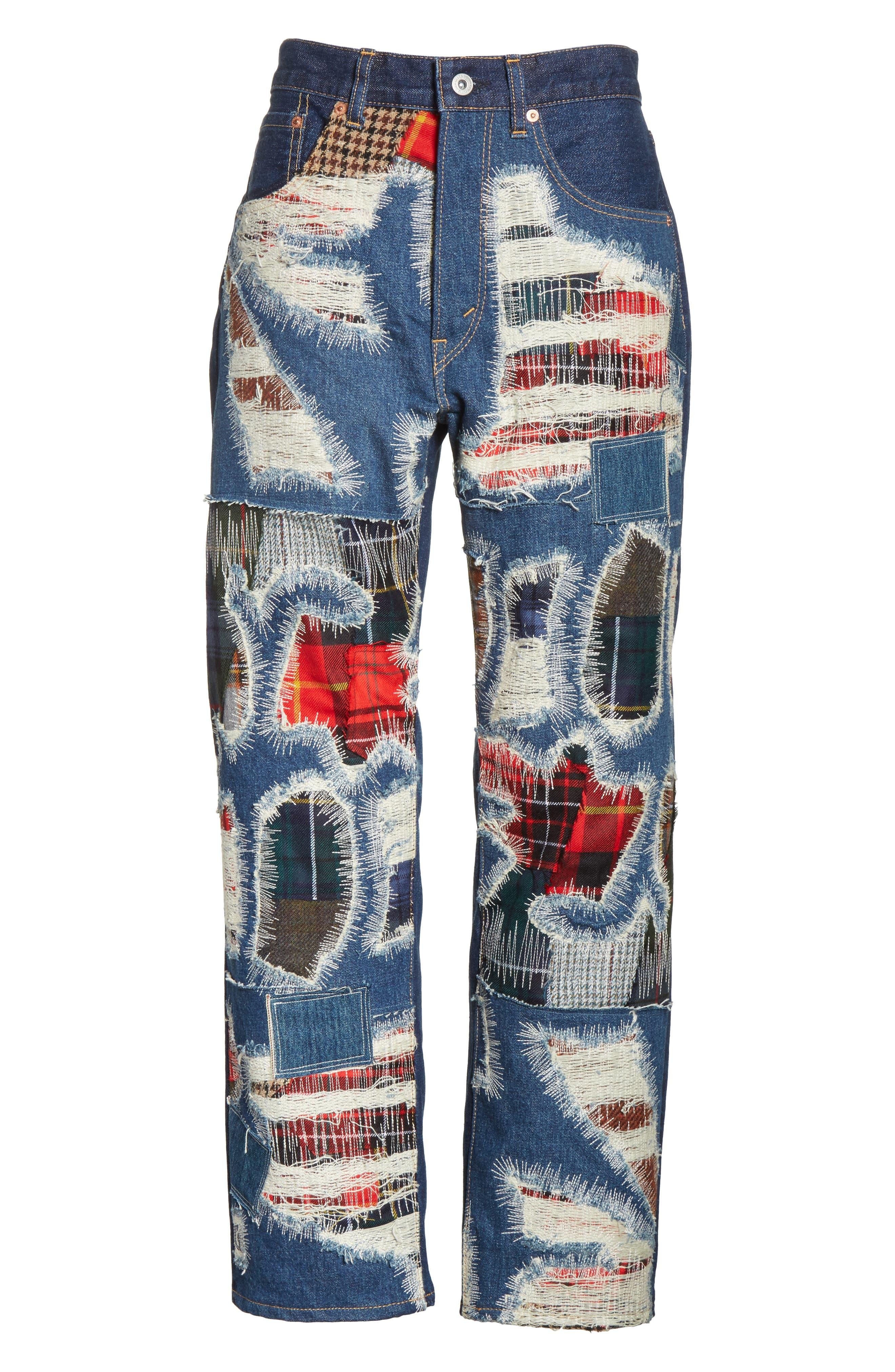 Distressed Patch Jeans,                             Alternate thumbnail 6, color,                             Indigo X Mix