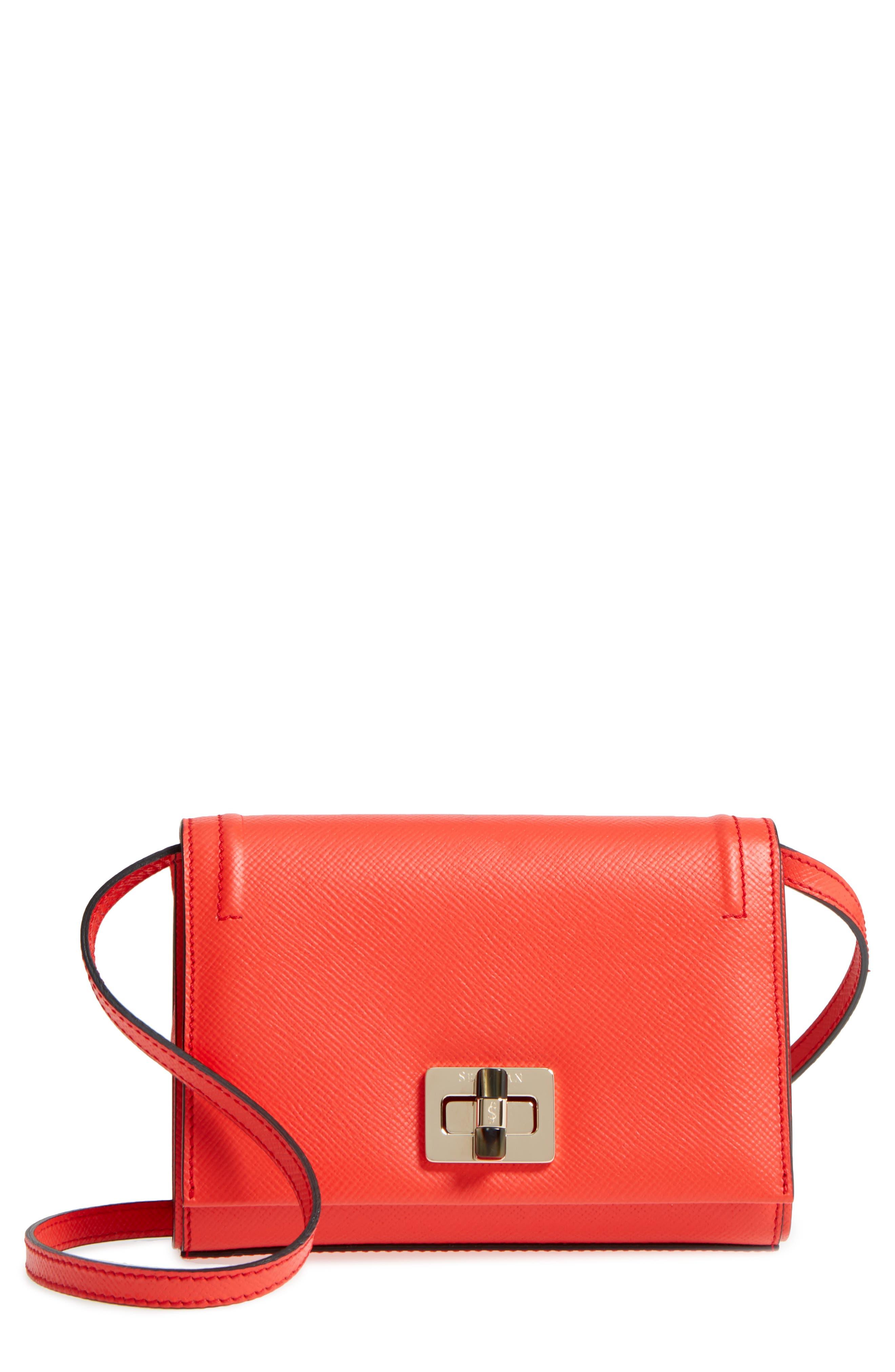 Mini Ilenea Leather Crossbody Bag,                         Main,                         color, Coral Red