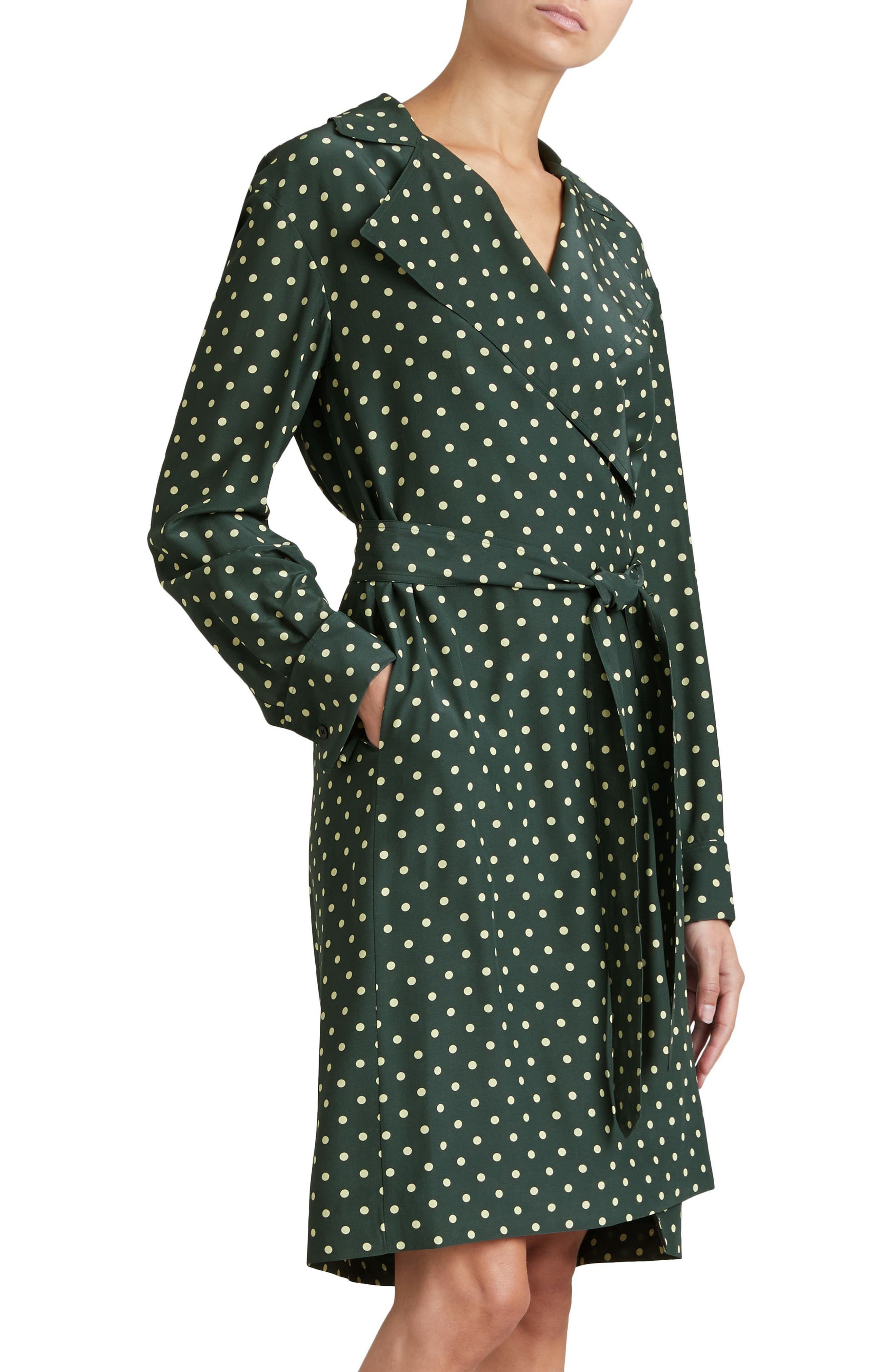 Janis Polka Dot Silk Wrap Dress,                             Alternate thumbnail 4, color,                             Racing Green