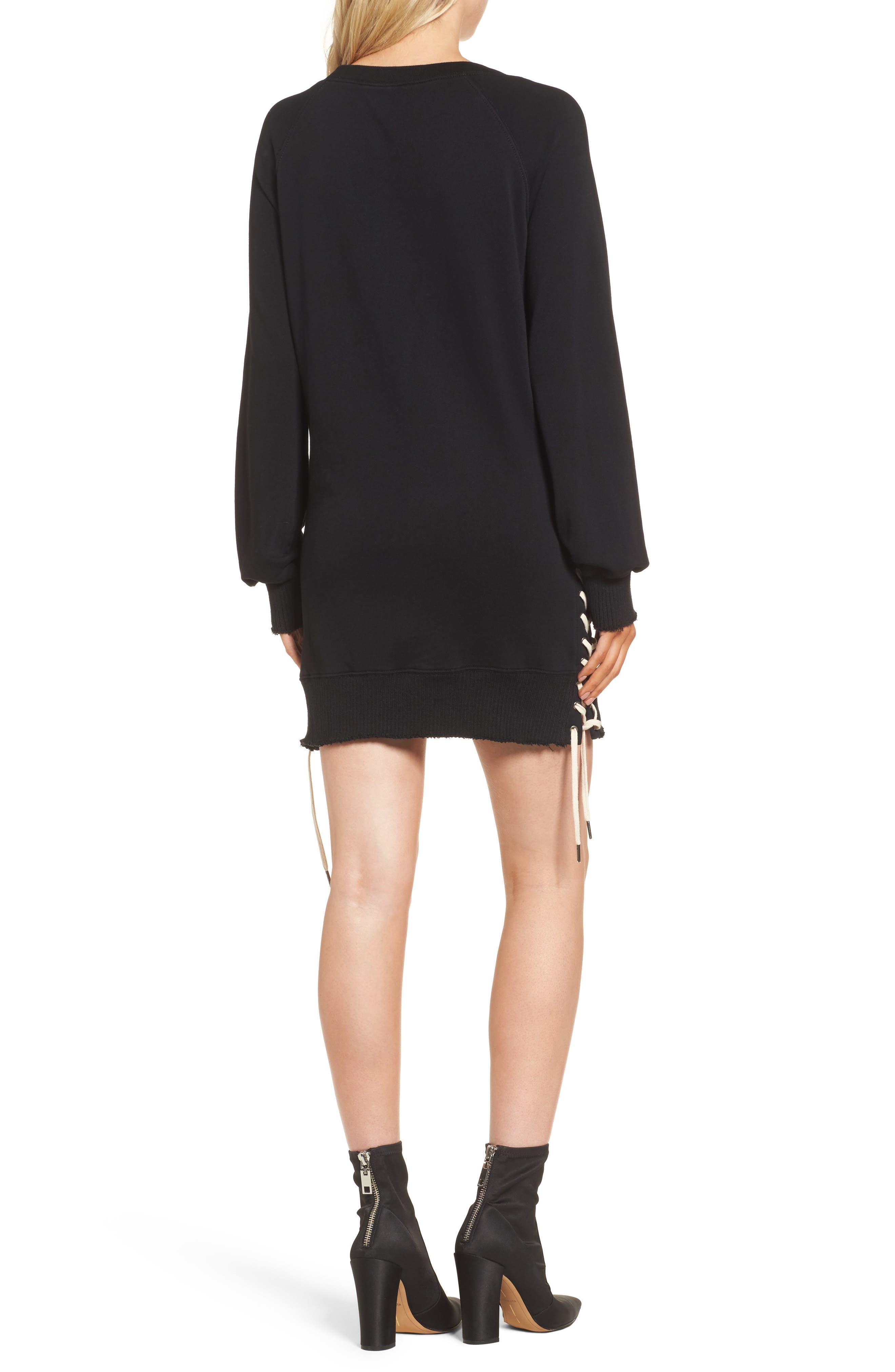 Lace-Up Sweatshirt Dress,                             Alternate thumbnail 2, color,                             Black