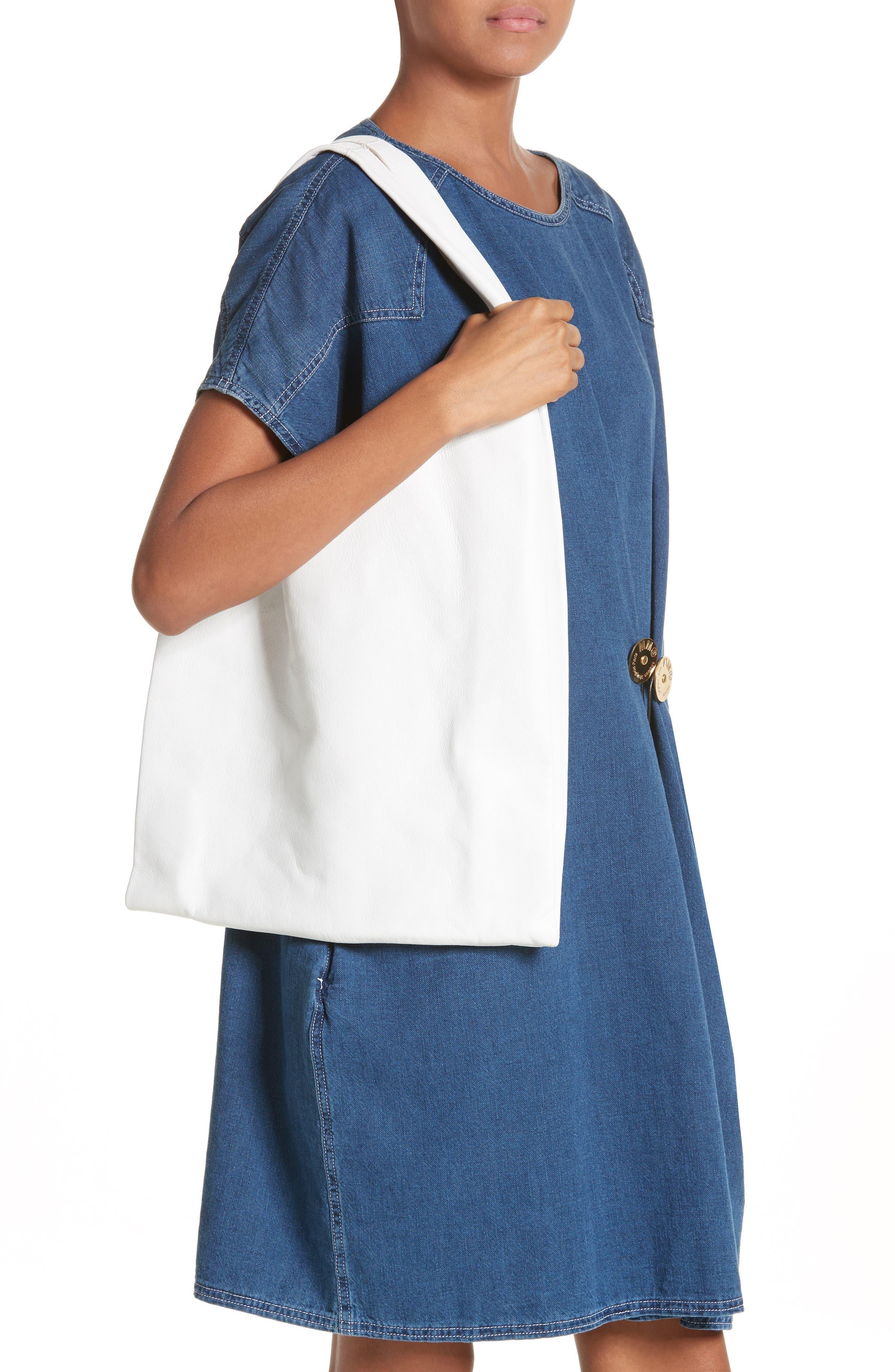 Calfskin Leather Shopper,                             Alternate thumbnail 2, color,                             White