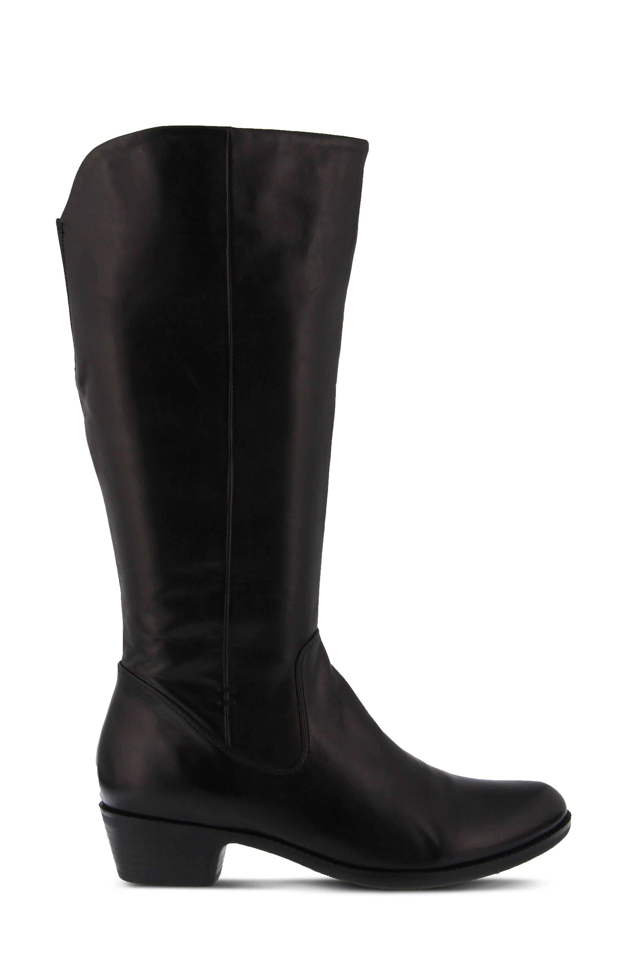 Bolah Tall Boot,                             Alternate thumbnail 3, color,                             Black Leather