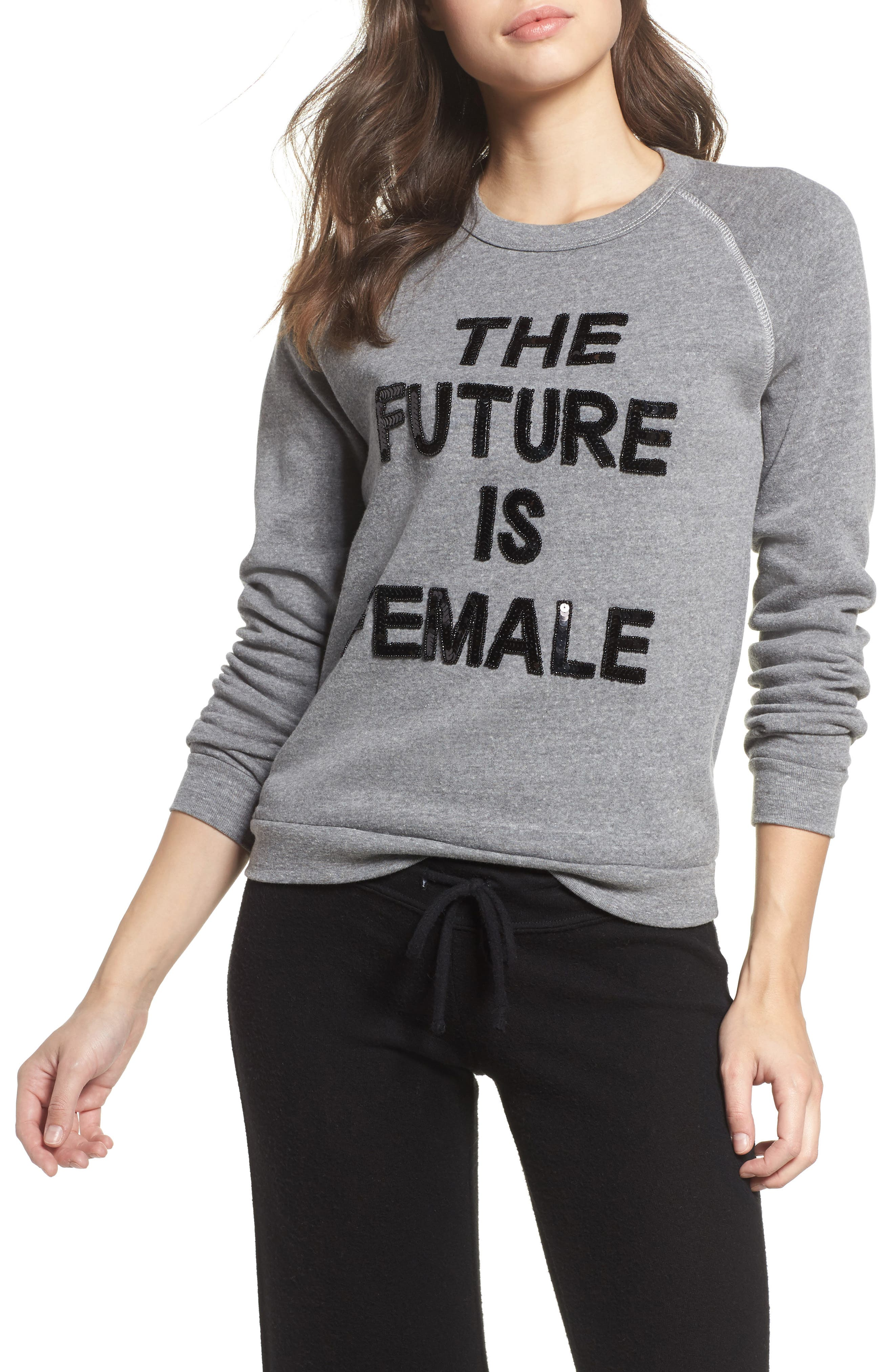 The Future is Female French Terry Sweatshirt,                             Main thumbnail 1, color,                             Heather Grey