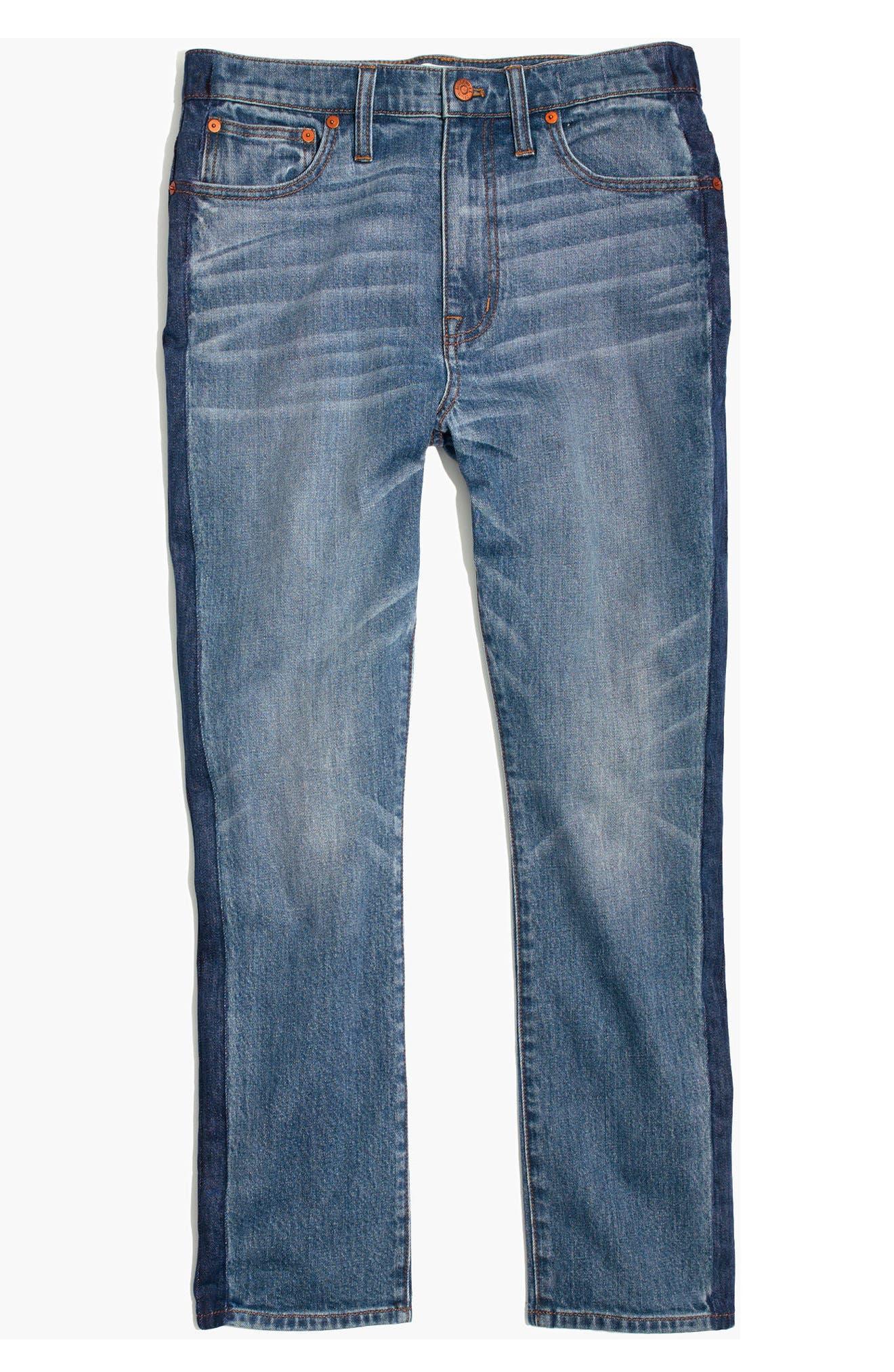 11-Inch High Rise Stripe Slim Boyfriend Jeans,                             Alternate thumbnail 3, color,                             Canton Wash