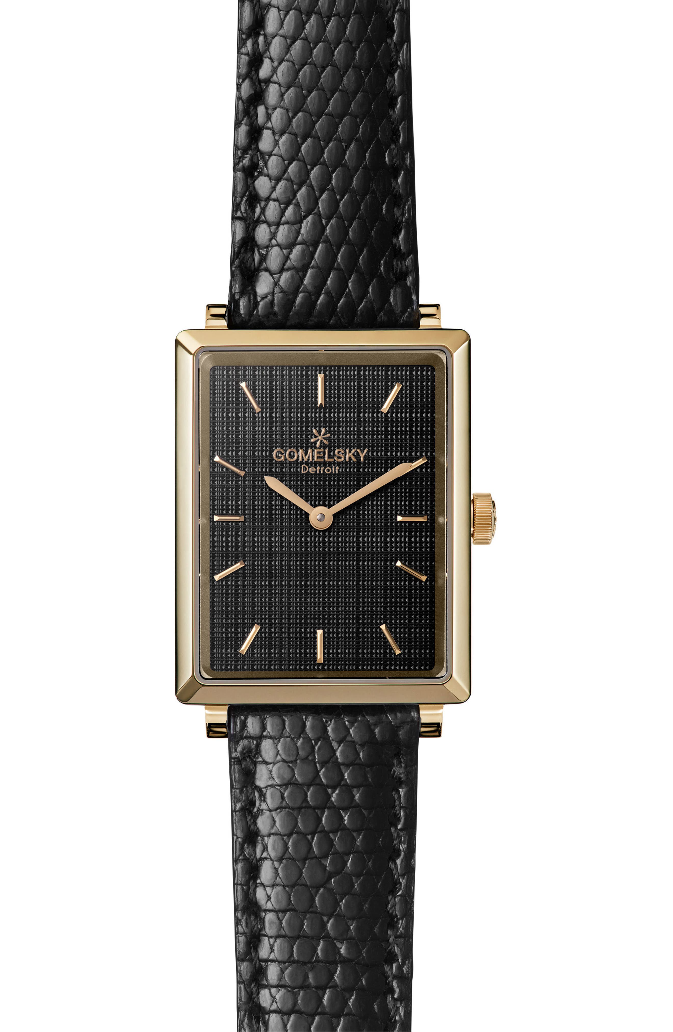 The Shirley Fromer Leather Strap Watch, 32mm x 25mm,                         Main,                         color, Black/ Gold