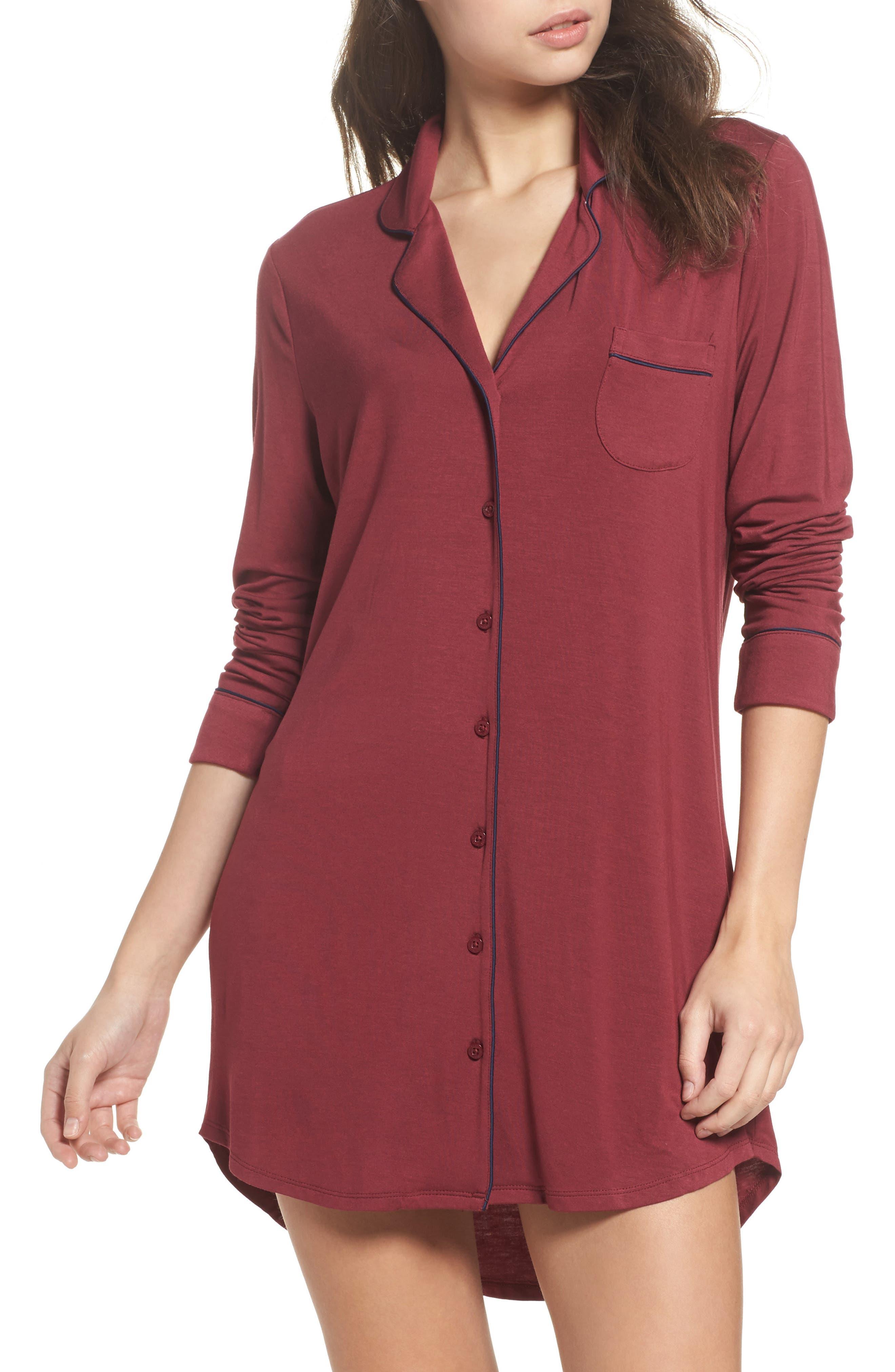 'Moonlight' Nightshirt,                         Main,                         color, Red Cordovan